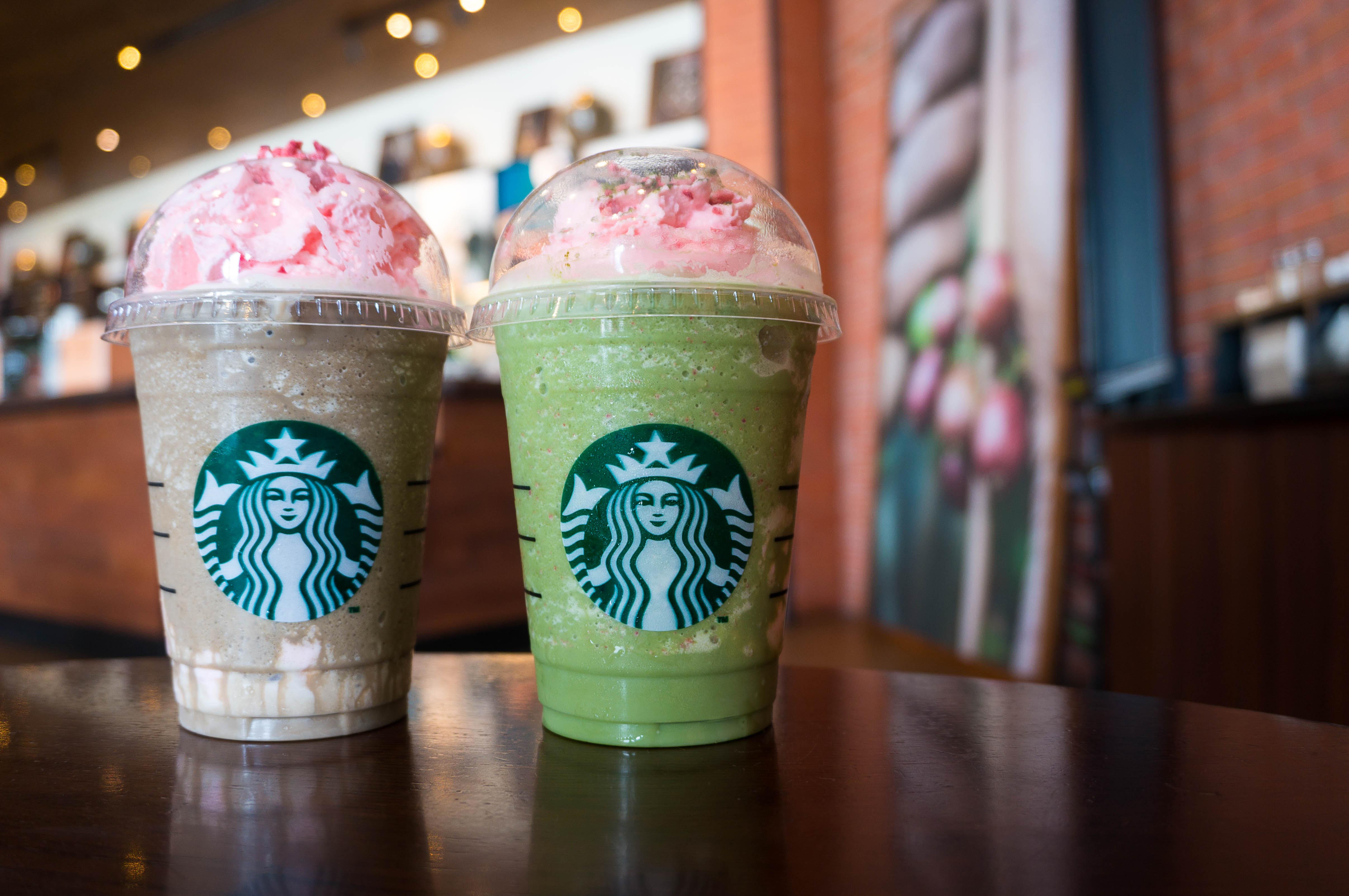 Green Tea Strawberry Blossom Frappuccino and Hojicha Strawberry Blossom Frappuccino