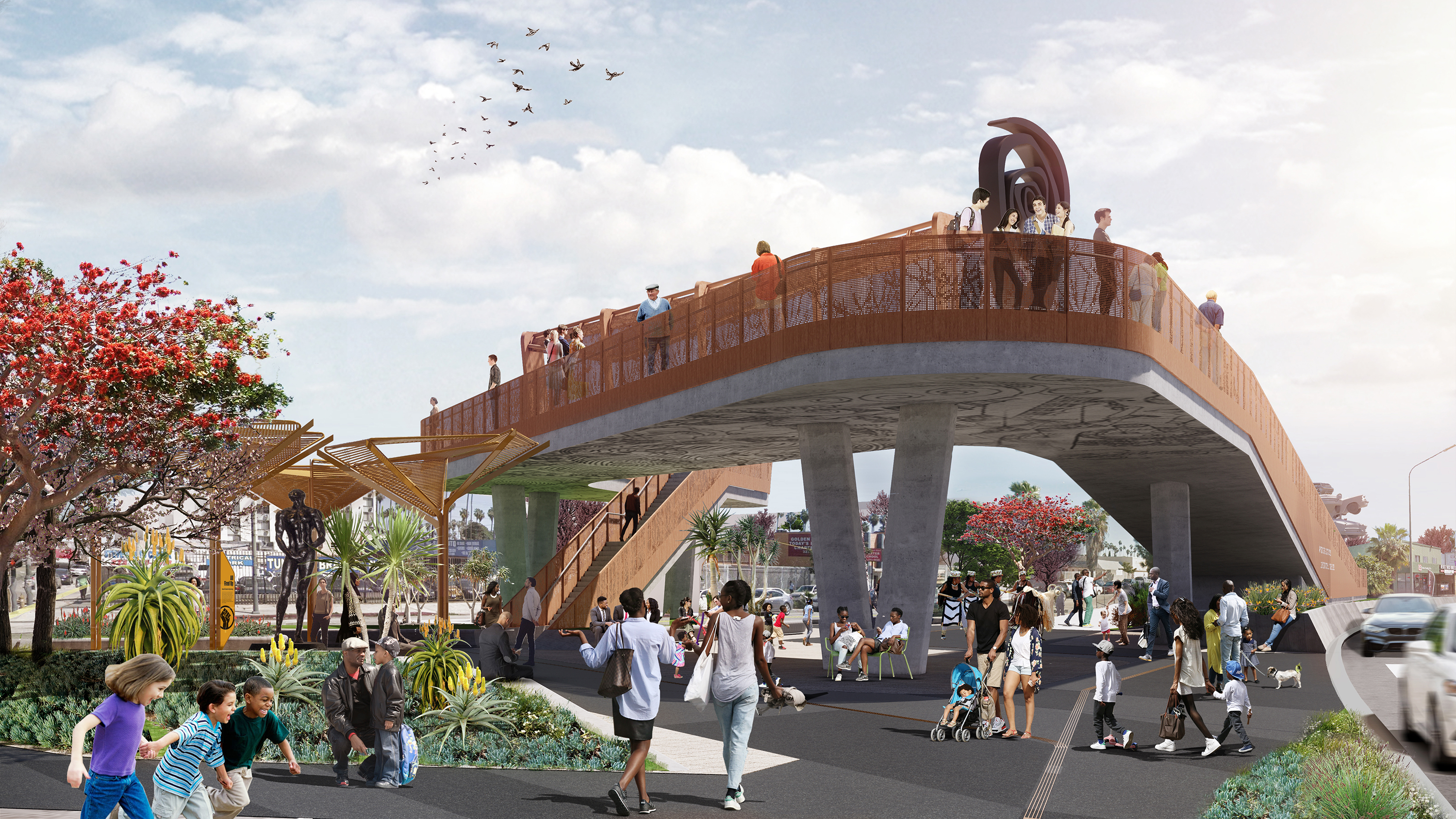 A rendering of an elevated bridge above a park-like setting with landscaping and trees and people walking on the sidewalk.