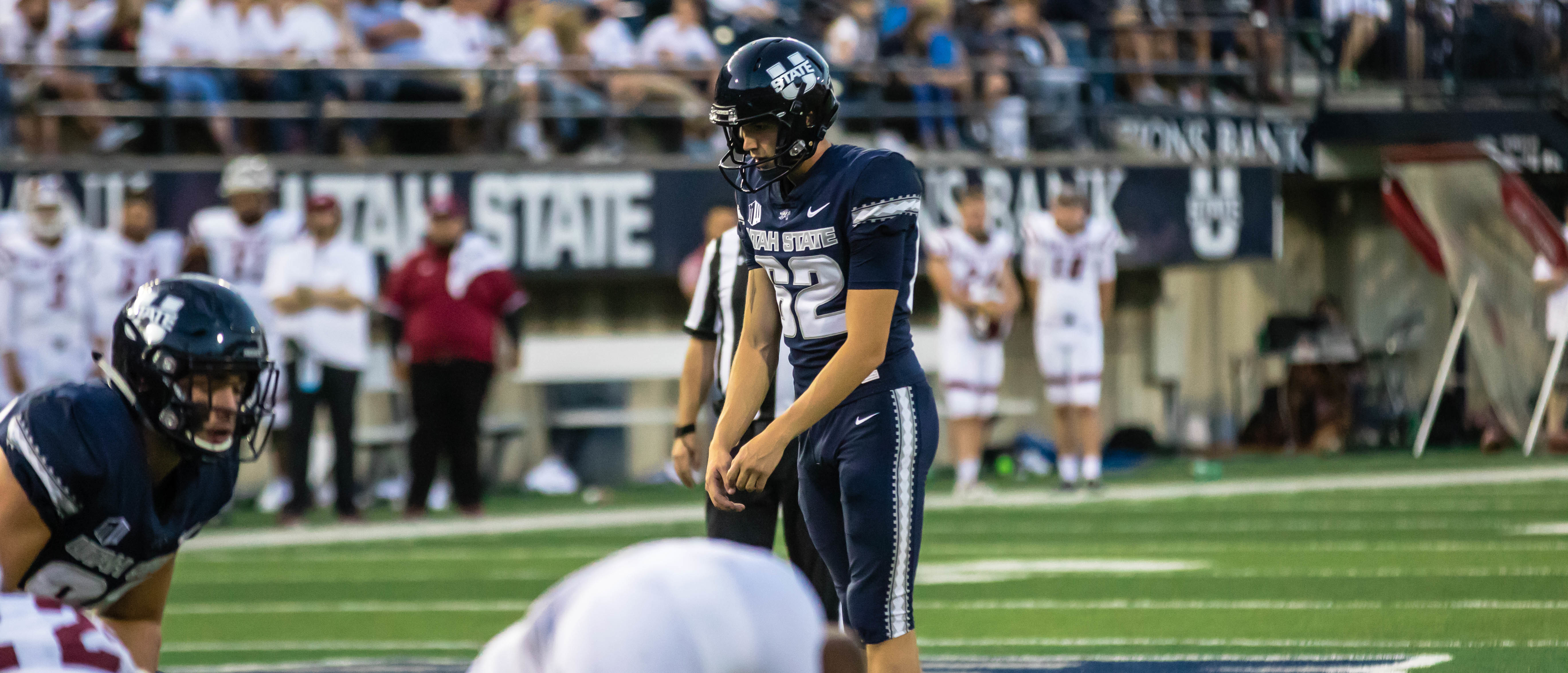 Utah State junior placekicker Dominik Eberle tied two NCAA kicking records in the Aggies' 60-13 victory over New Mexico State last Saturday night at Maverik Stadium.