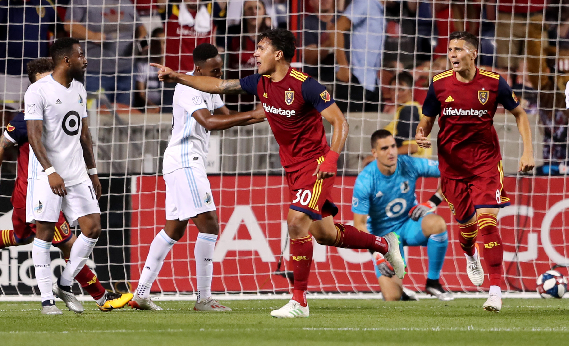 Real Salt Lake defender Marcelo Silva (30) celebrates after scoring the game-tying goal as Real Salt Lake and Minnesota play in an MLS soccer match at Rio Tinto Stadium in Sandy on Saturday, July 20, 2019. The two teams played to a 1-1 draw.