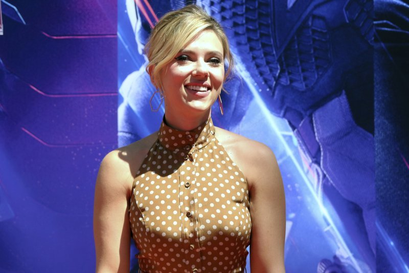 """In a Tuesday, April 23, 2019, file photo, film star Scarlett Johansson appears at a hand and footprint ceremony at the TCL Chinese Theatre, in Los Angeles. Johansson, who has been the victim of deepfake pornography, has said it's a """"useless pursuit"""" to tr"""