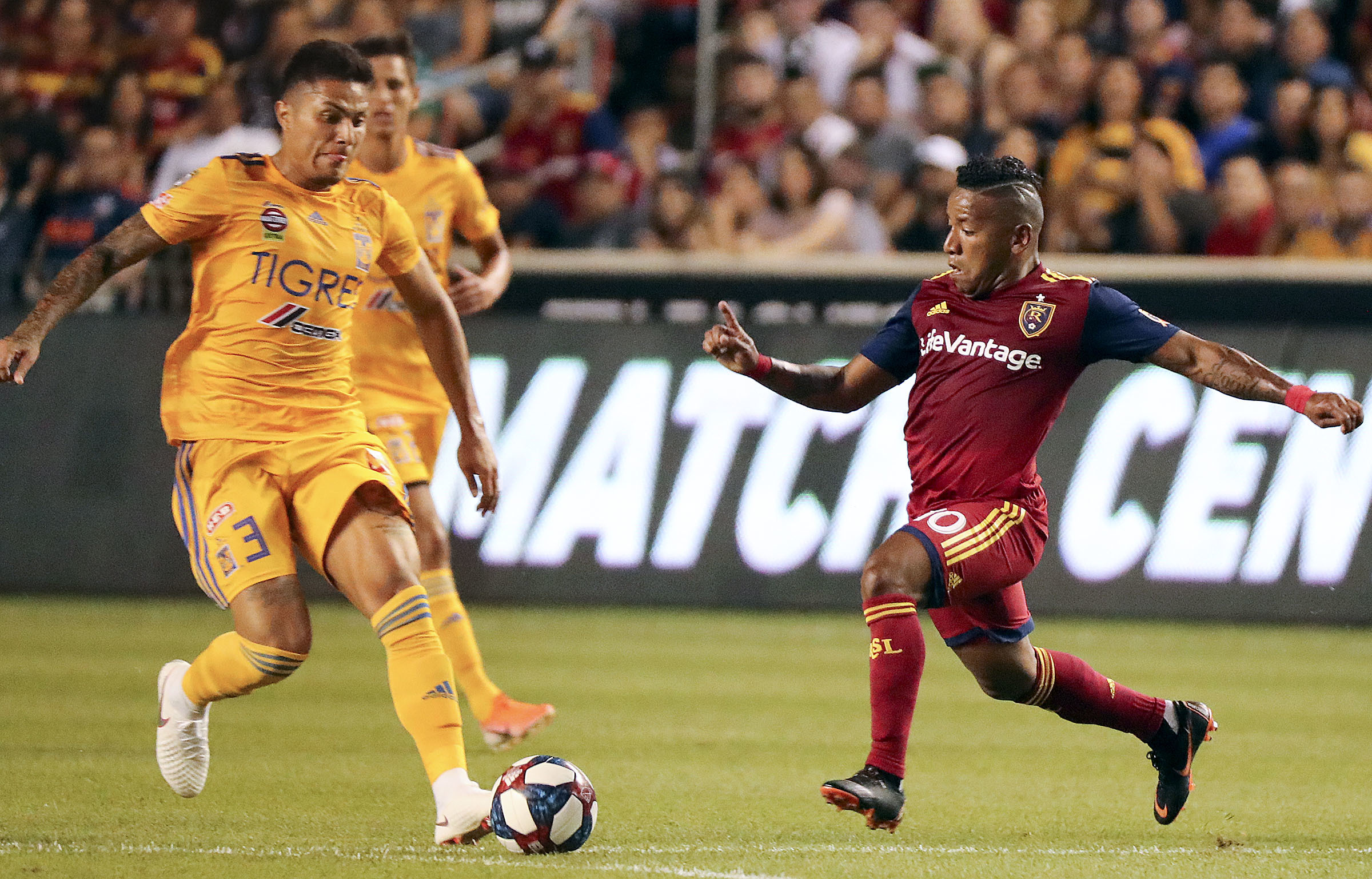 UANL Tigres defender Juninho (3) and Real Salt Lake forward Joao Plata (10) fight for the ball during a Leagues Cup soccer match at Rio Tinto Stadium in Sandy on Wednesday, July 24, 2019. Real Salt Lake lost 0-1.