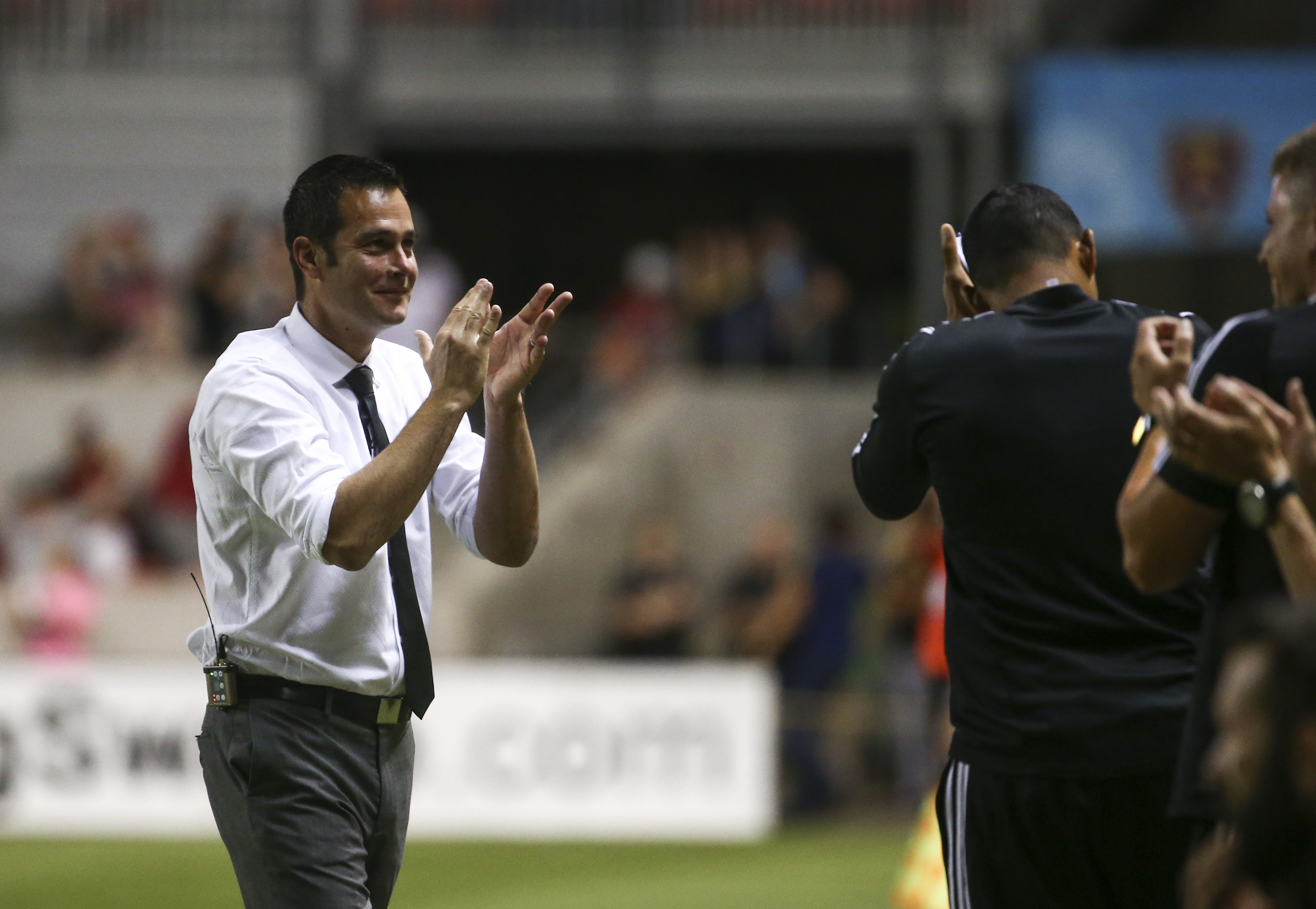 Real Salt Lake head coach Mike Petke celebrates the fourth goal of the night during the second half of a game at Rio Tinto Stadium in Sandy on Saturday, July 13, 2019.