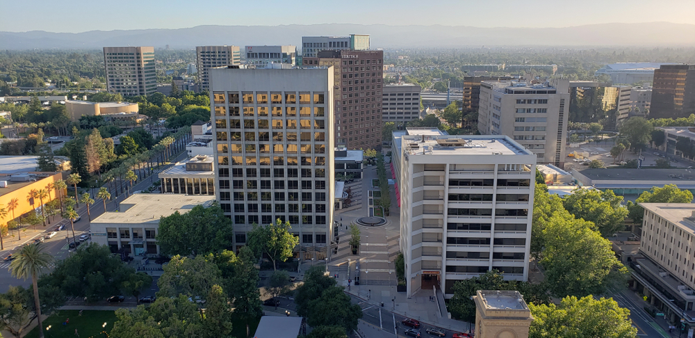 An aerial photo of buildings in downtown San Jose.
