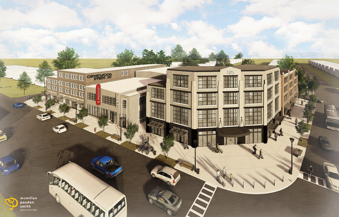 A rendering of a new series of white mid-rise buildings planned for East Atlanta.
