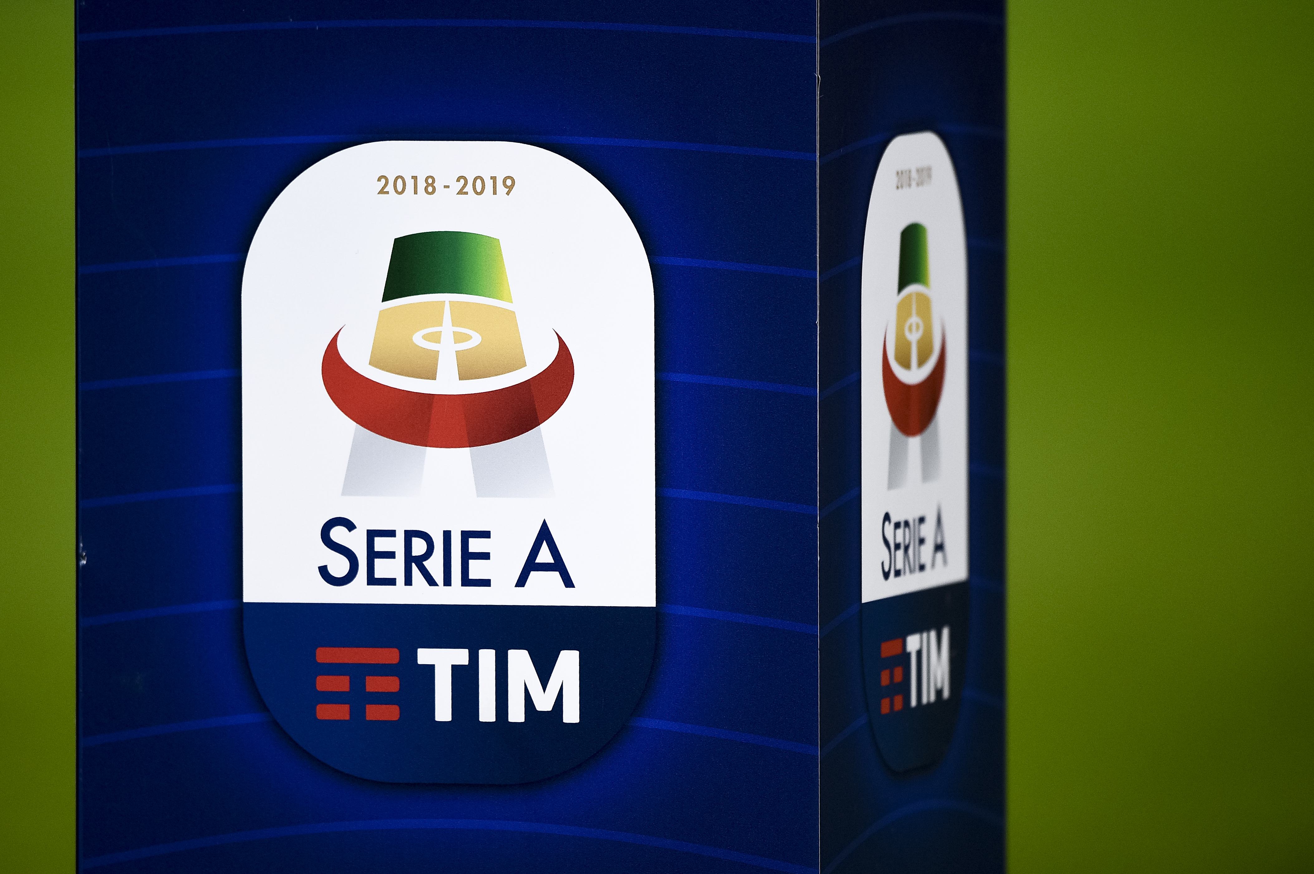 The Serie A TIM logo is pictured prior to the Serie A...