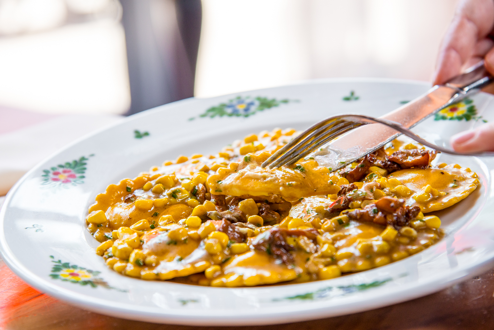 Seasonal ravioli with corn from Osteria Morini