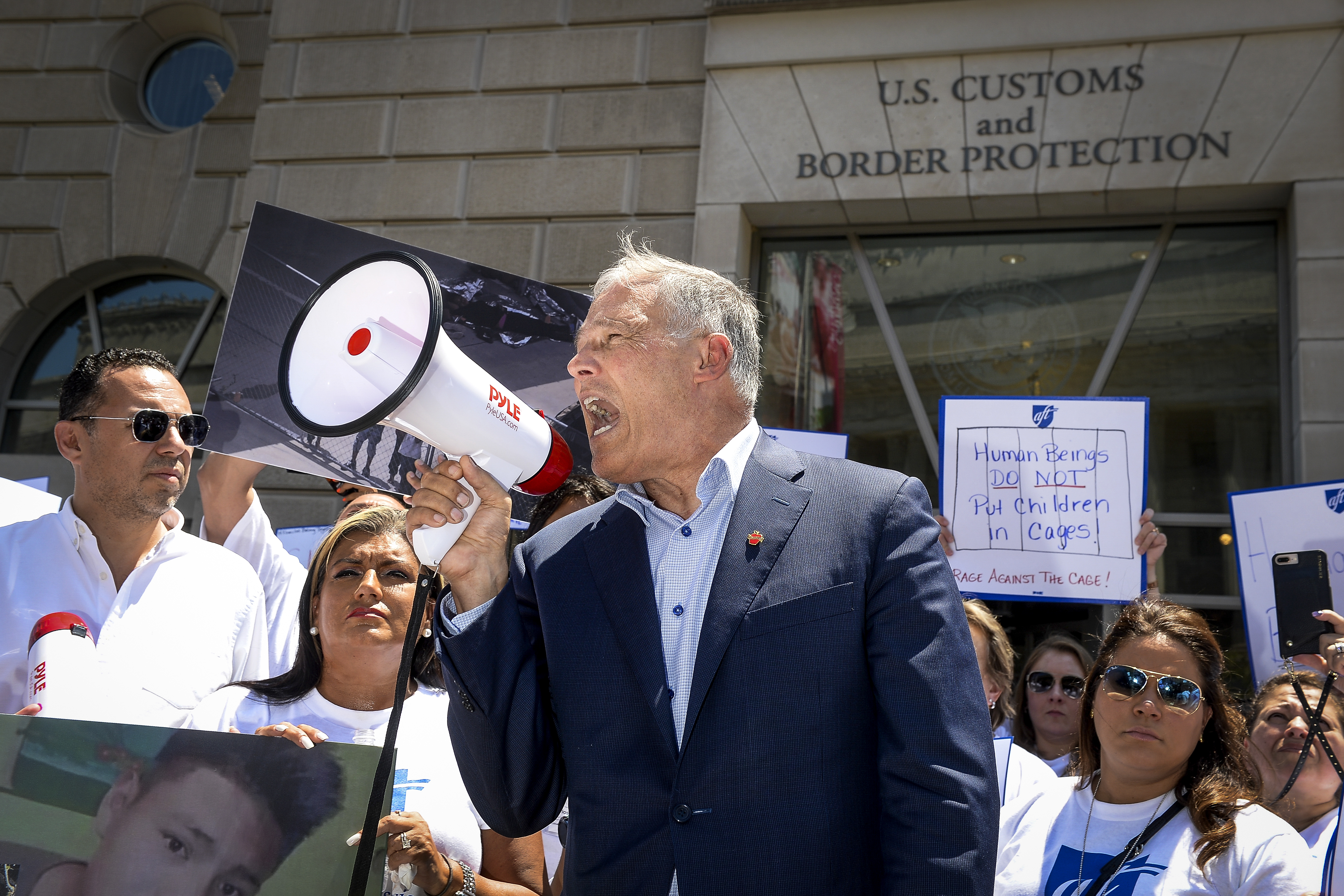 Democratic presidential candidate Washington Gov. Jay Inslee speaks at a protest on President Trumps immigration policy outside of the U.S. Customs and Border Protection office in Washington on Friday July 12, 2019.