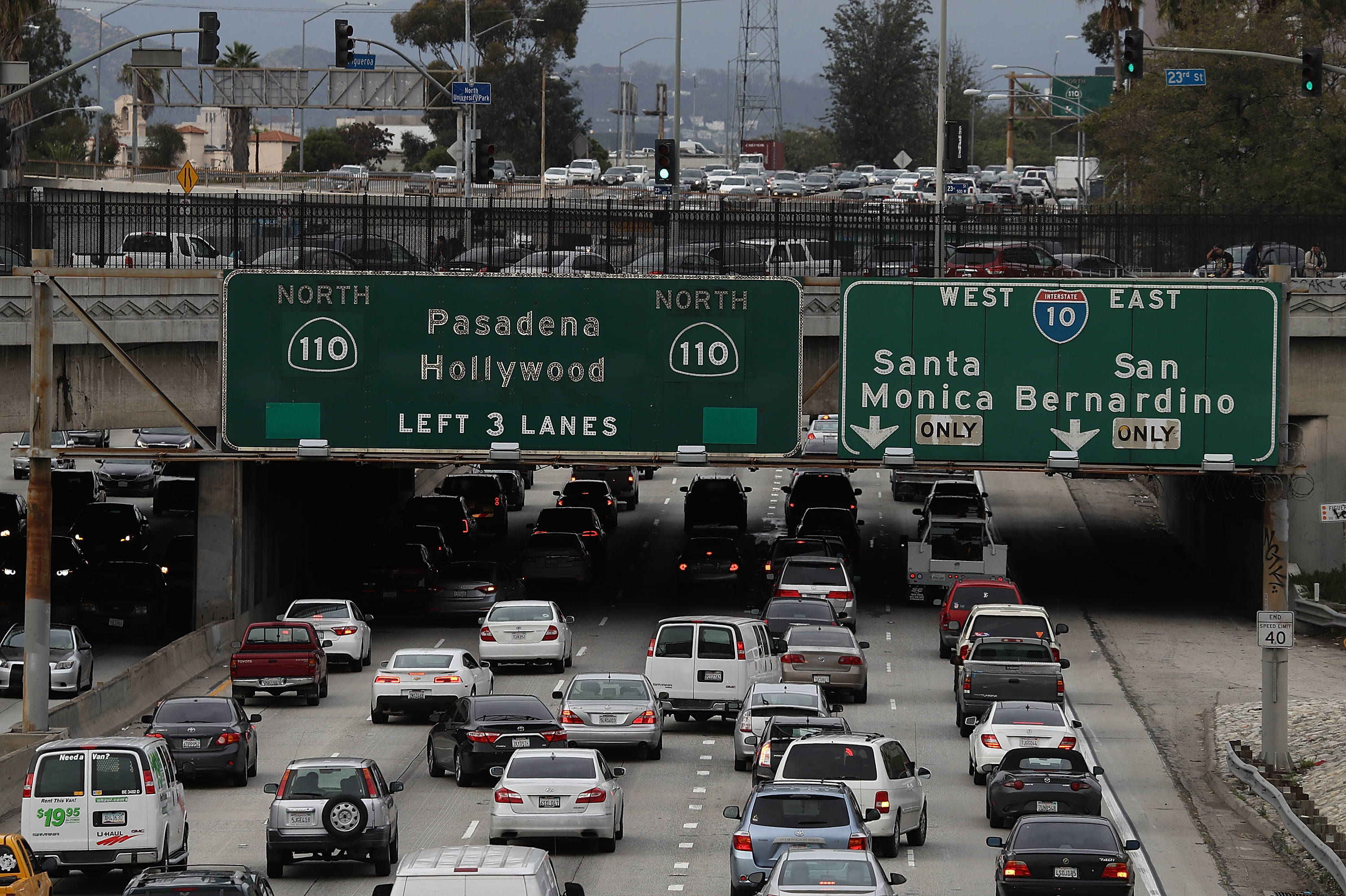 Cars travel along State Route 110 in Los Angeles, California.