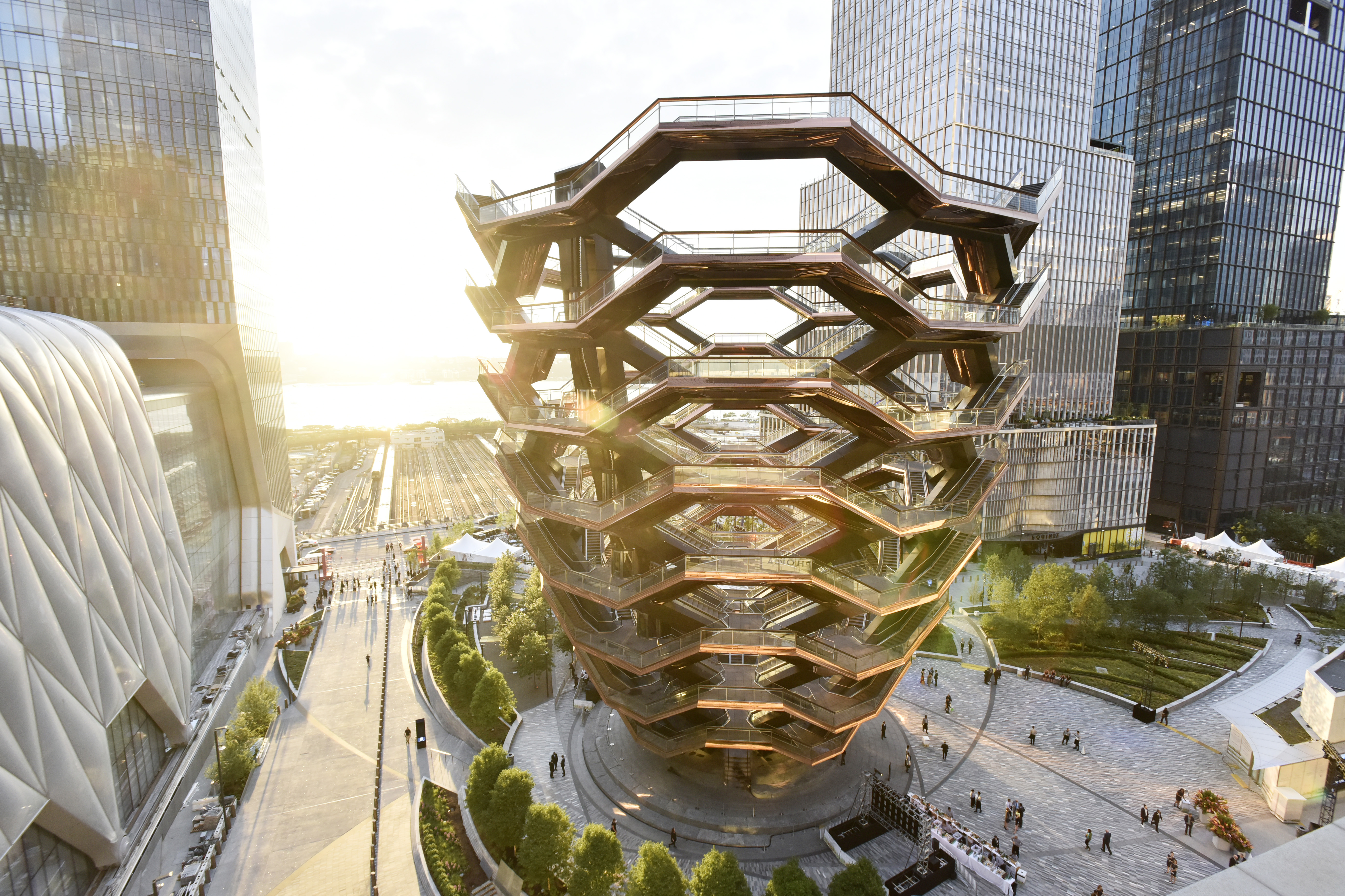 The Vessel and Shed, two key components of the new Hudson Yards development in New York City.