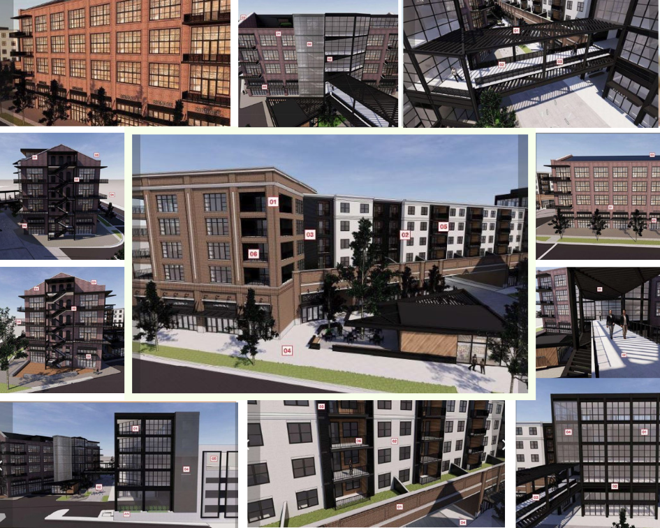 A collage of a various architectural features including brick walls and walkways.