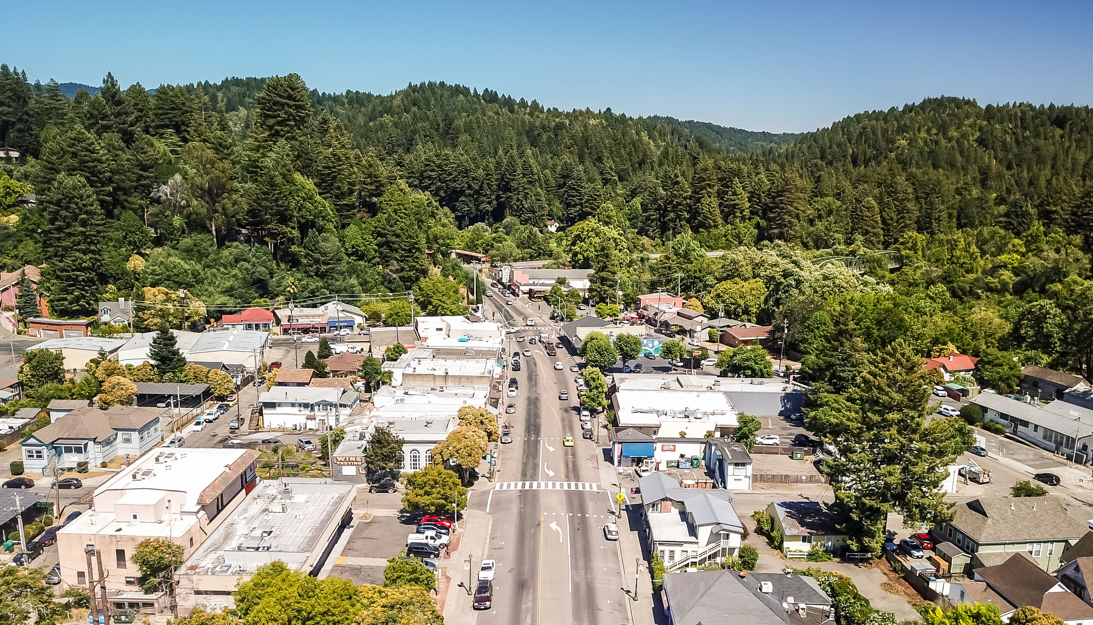 Aerial shot of small town with lush green trees, blue sky, and small homes and business dotting the landscape. A major street runs through the center of the land.