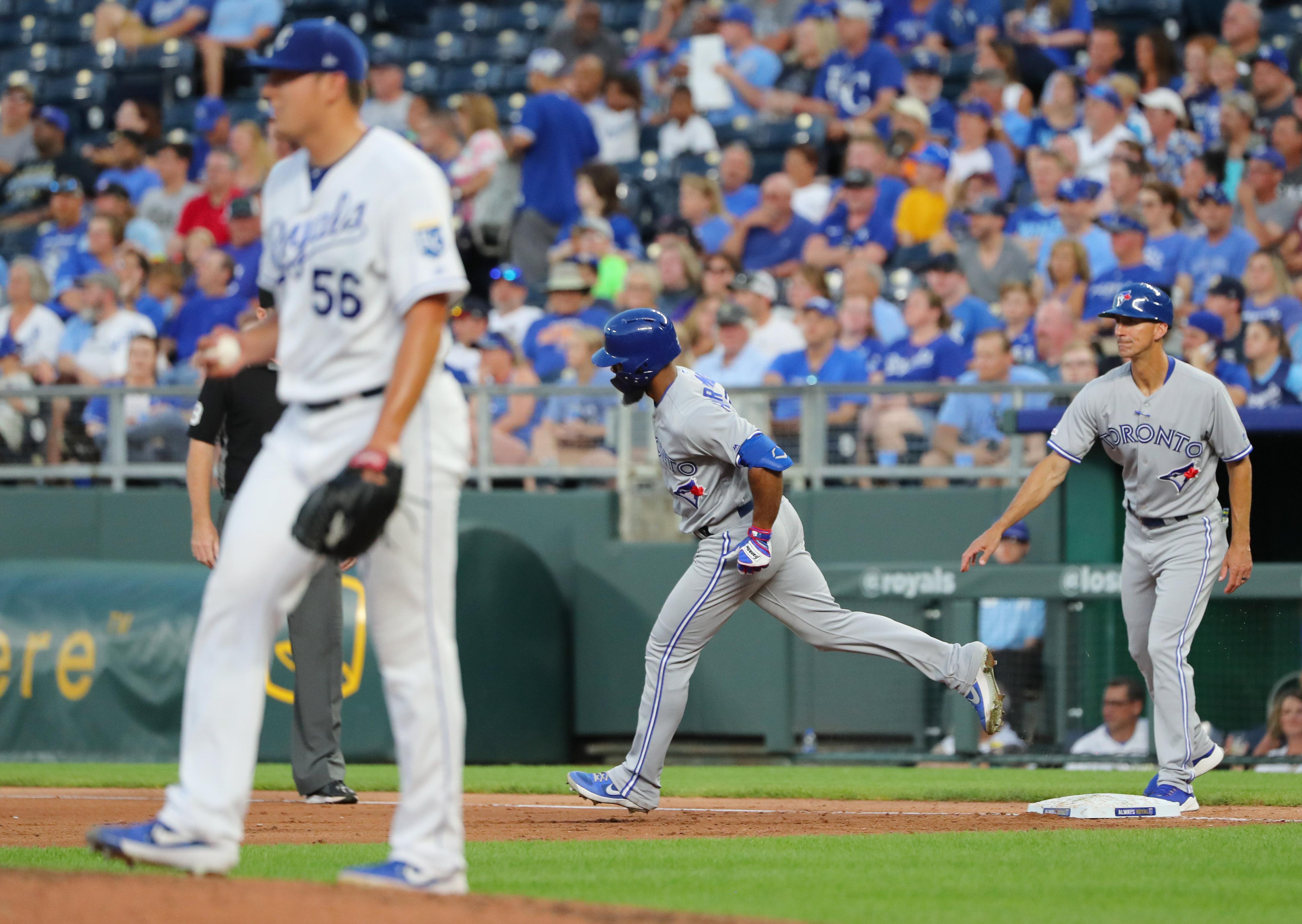 Toronto Blue Jays center fielder Teoscar Hernandez (37) rounds the bases after hitting a home run off of Kansas City Royals starting pitcher Brad Keller (56) during the fifth inning at Kauffman Stadium.