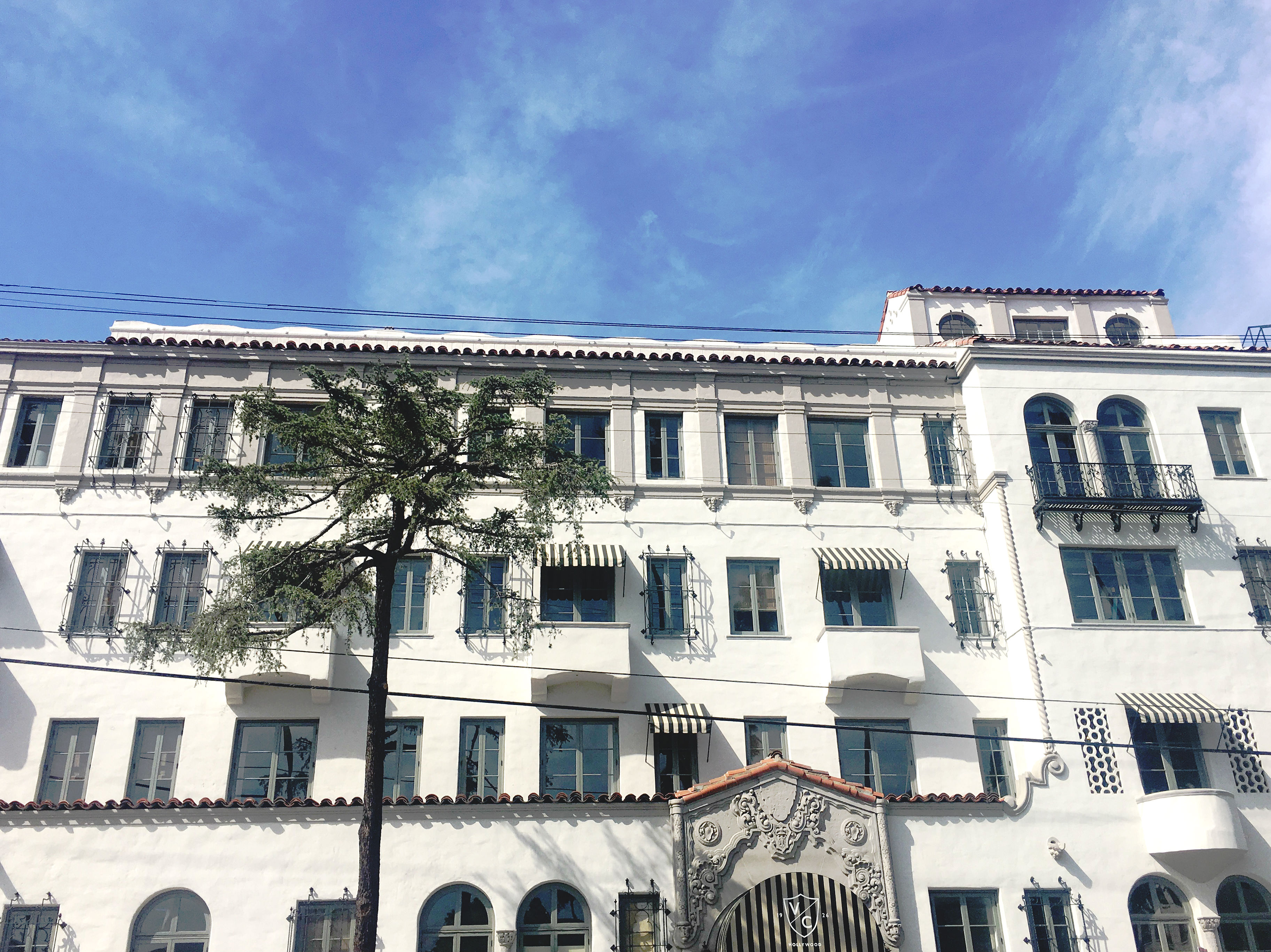 A photo of the historic building's upper floors and a palm tree in the foreground.