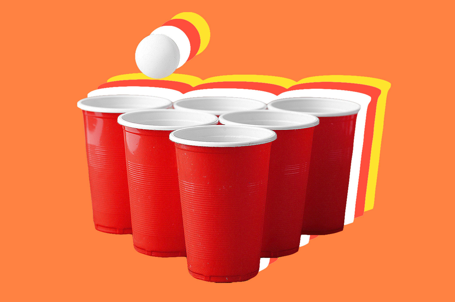 A pin ball floats above red cups arranged in a pyramid shape