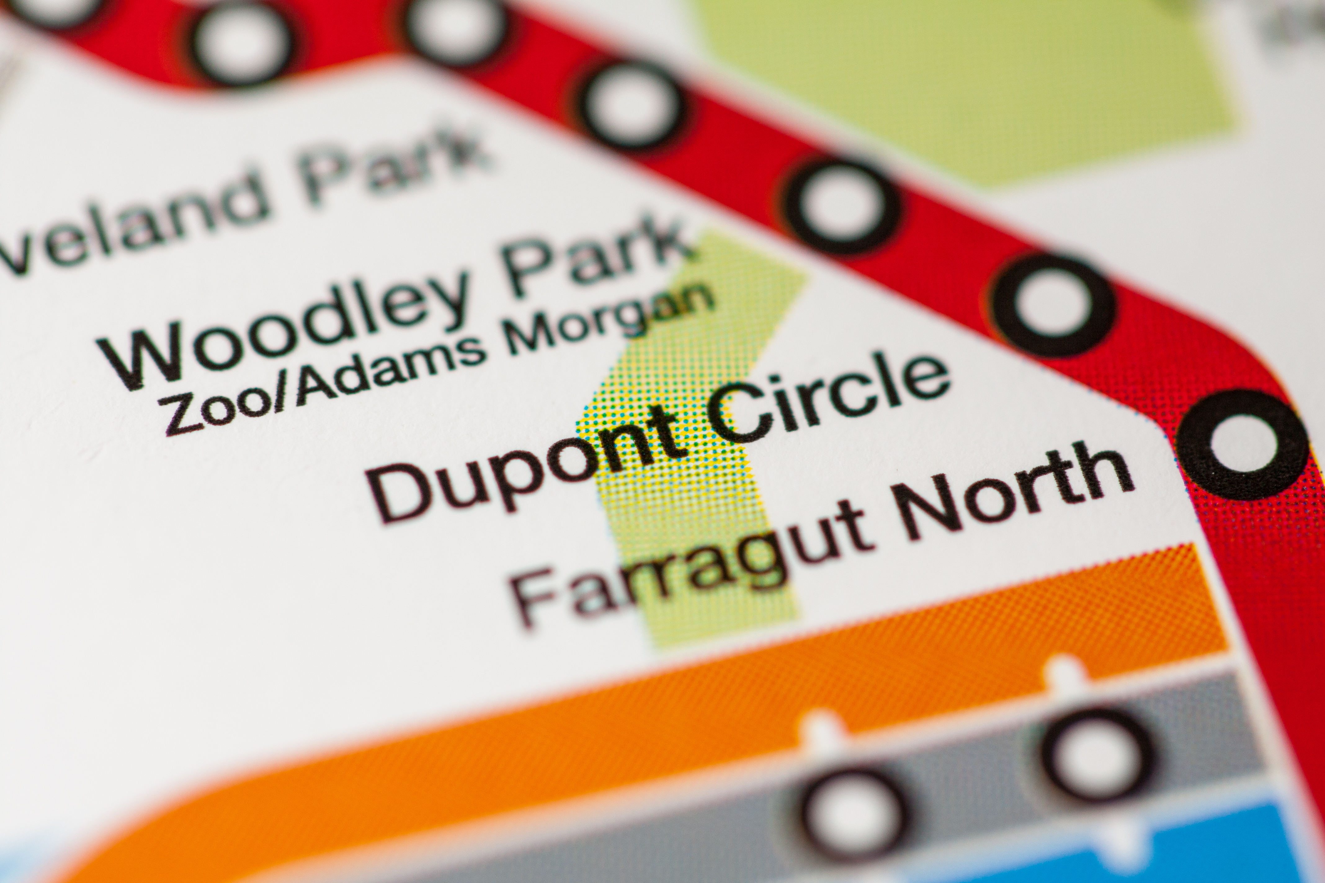A Metro map showing the Woodley Park, Dupont Circle, and Farragut North stations on Metro's Red Line.