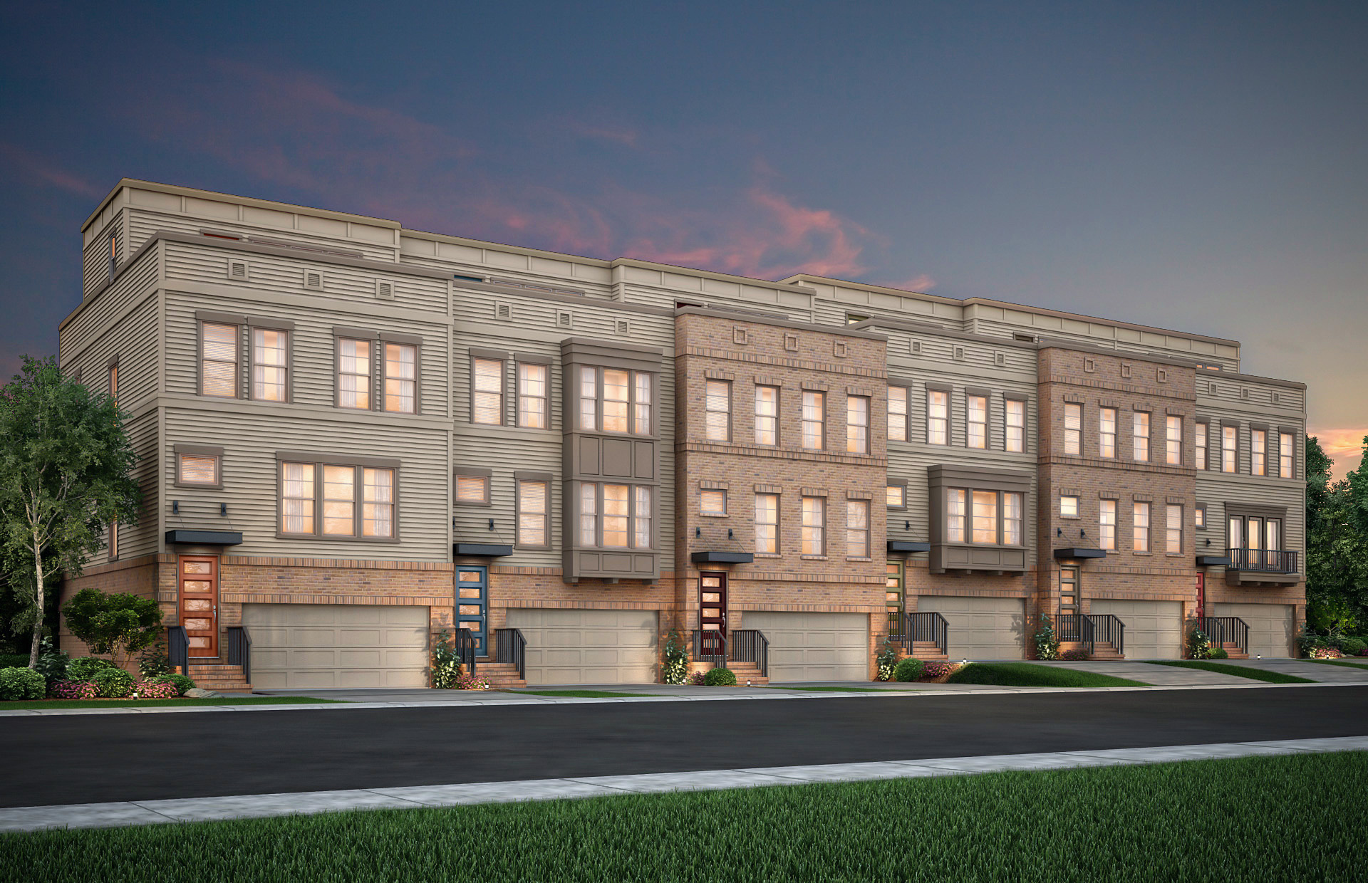 A rendering shows a beige and tan brick townhome building, each unit featuring a two-car garage and a different color front door.