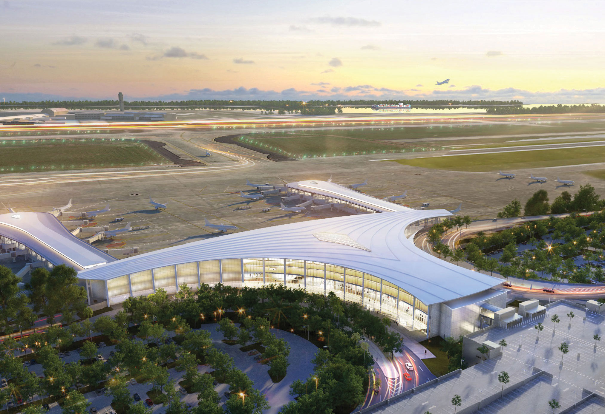 A rendering of a T-shaped airport terminal with glass curving around its edges.
