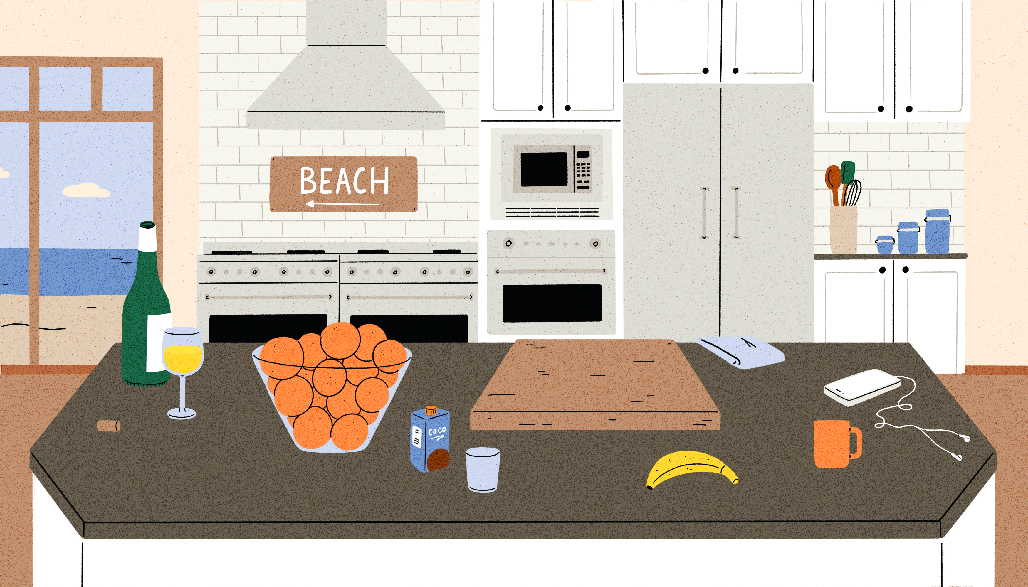"A bottle and glass of white wine, a large bowl of oranges, a cutting board and other personal artifacts sit atop large granite island in a luxury kitchen. In the background there's a ""Beach"" sign above a hooded double stove. Illustration."