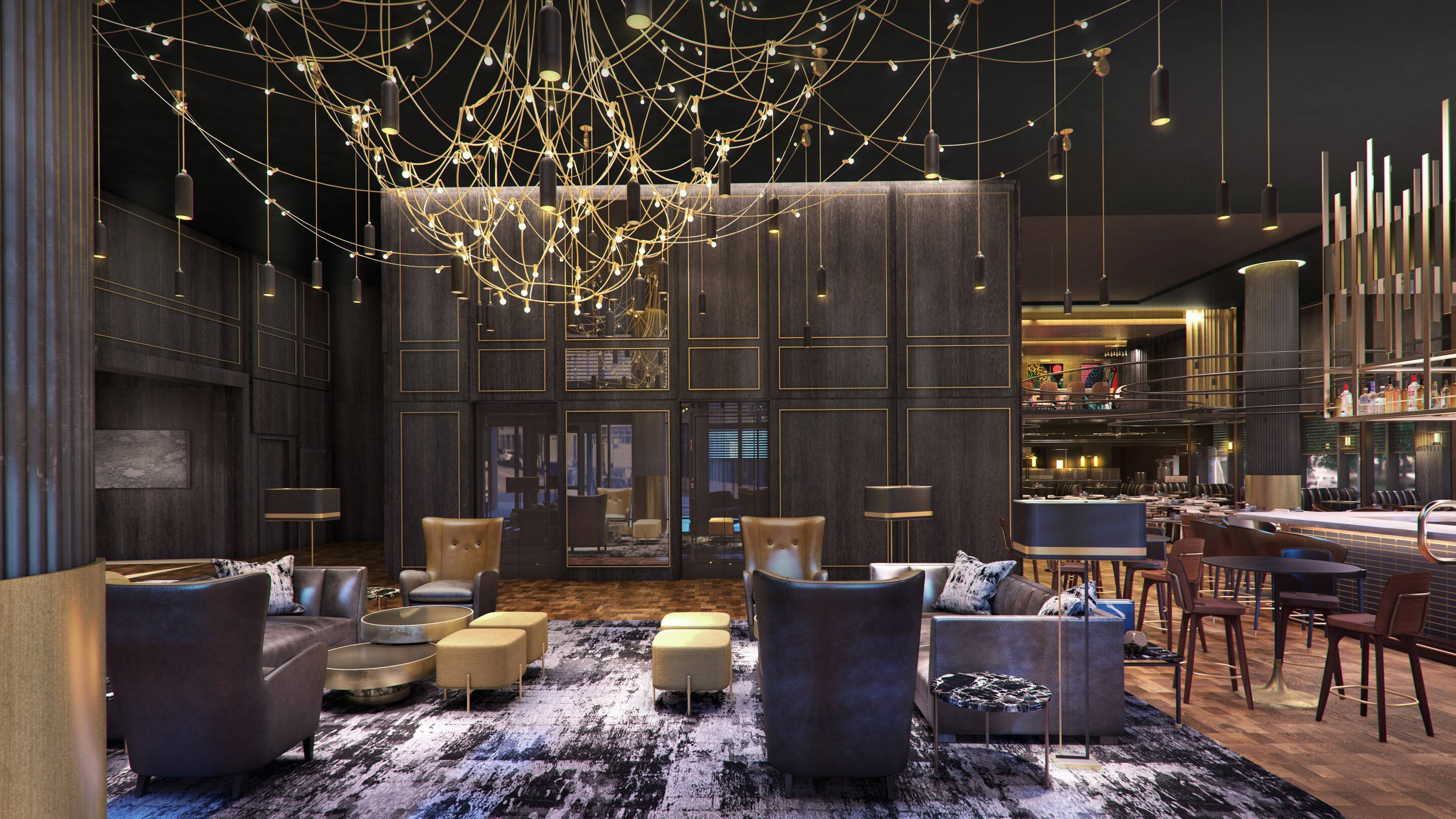 Rendering of the lobby at the Otis