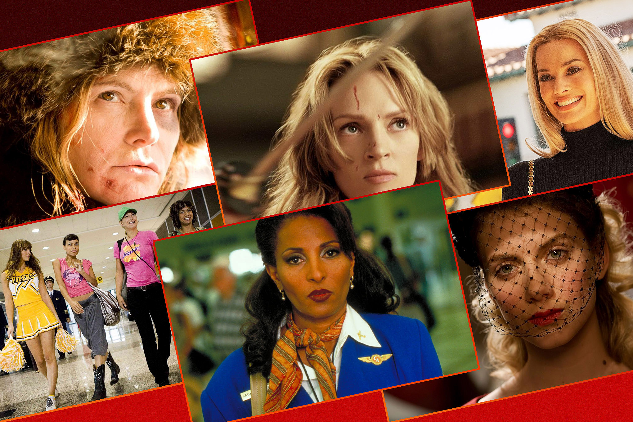 Six female characters from films directed by Quentin Tarantino