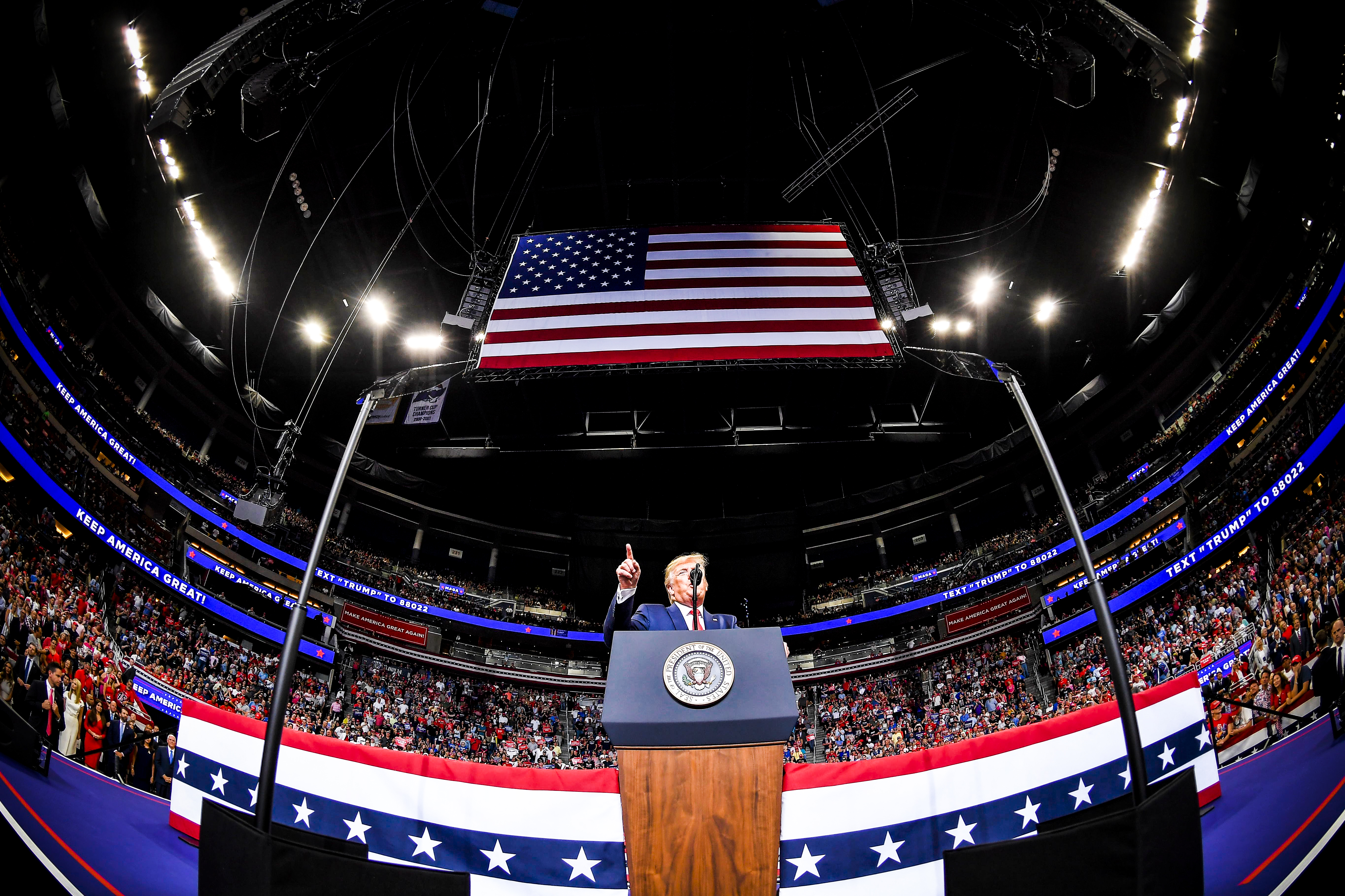 President Trump officially launches his 2020 campaign at the Amway Center in Orlando, Florida on June 18, 2019.