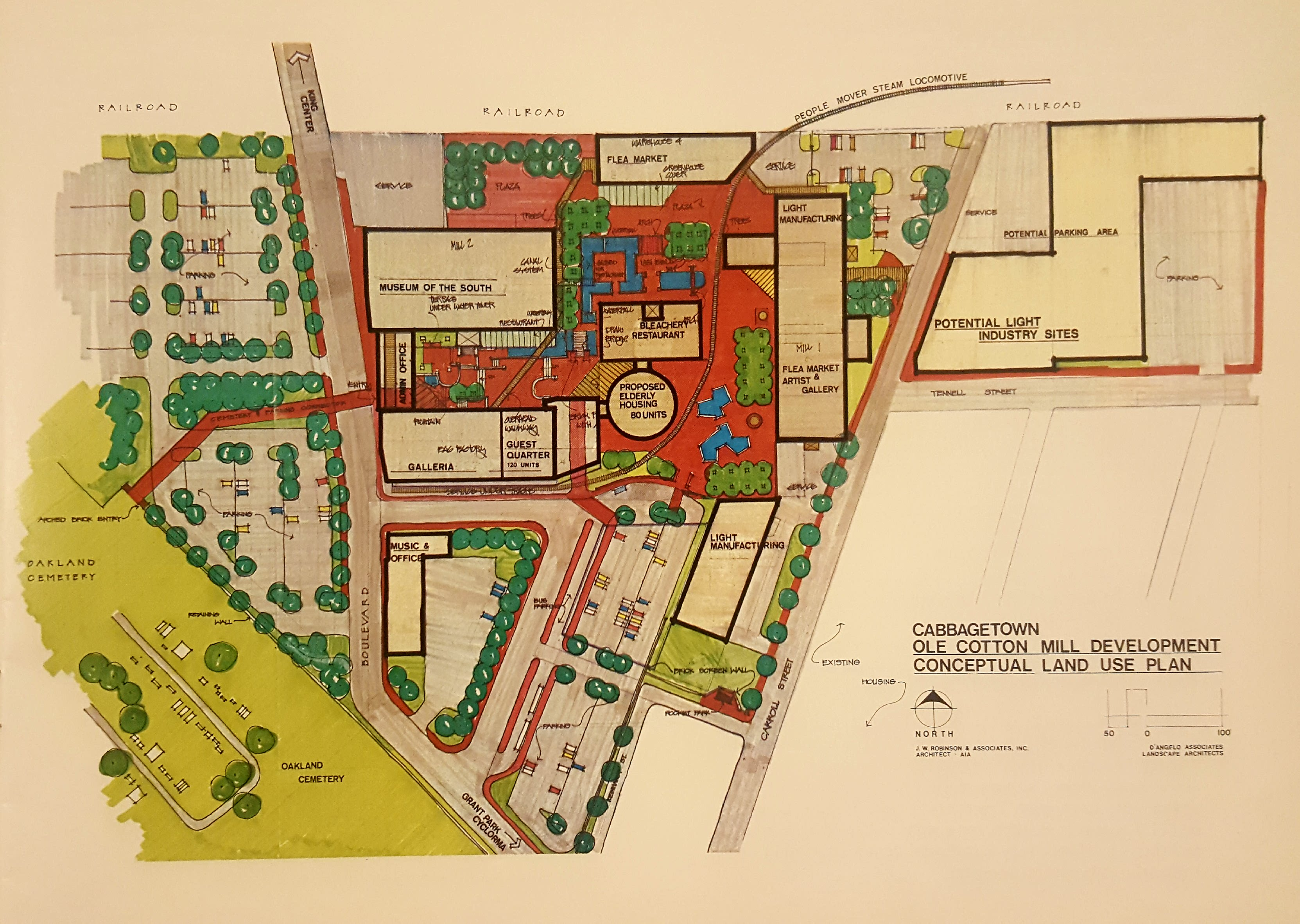 An early blueprint of the plan to revitalize Cabbagetown's Fulton Cotton and Bag Mill with restaurants, retail, office space, and more.