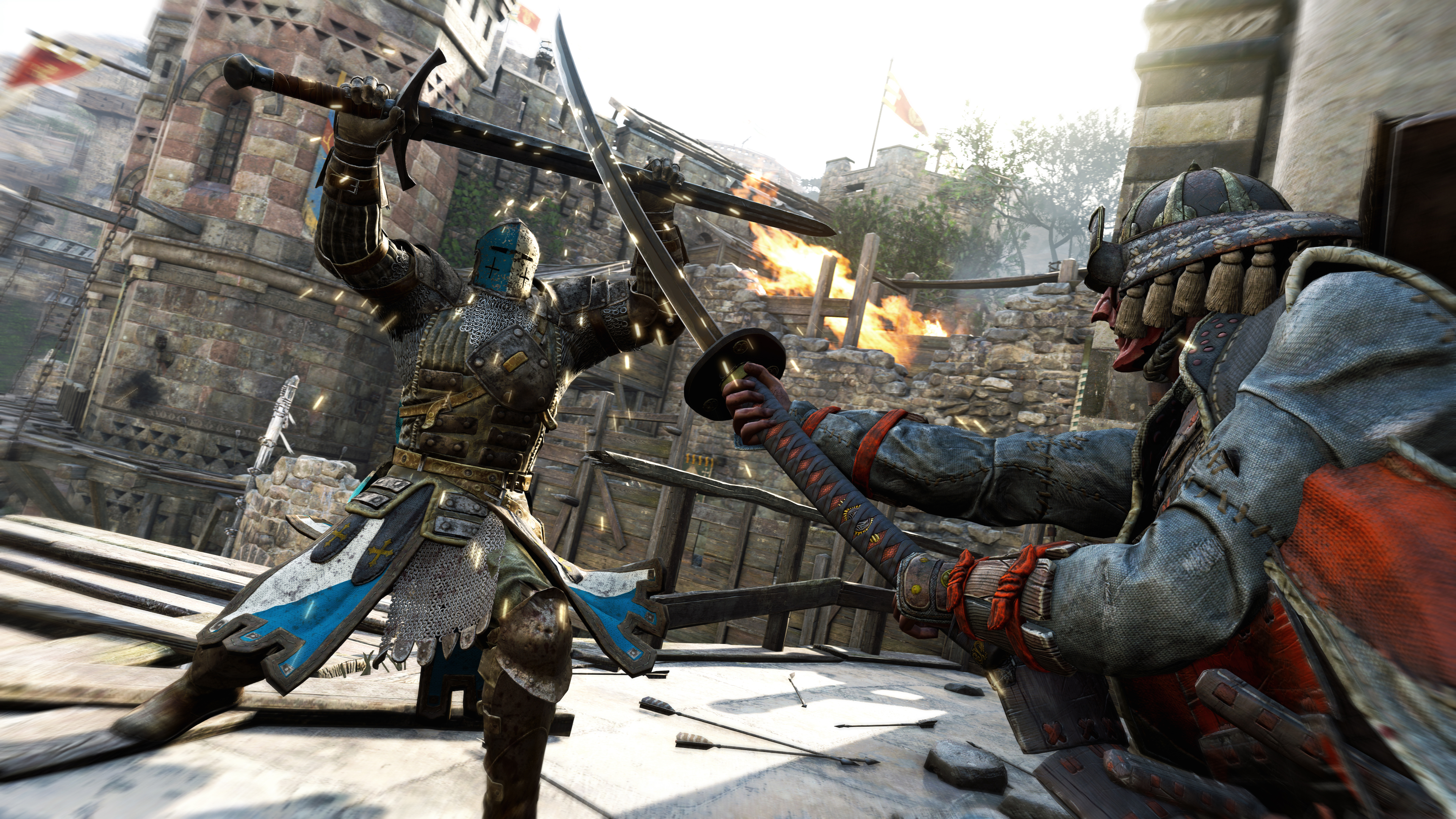 A knight and samurai clash with their swords in a screenshot from For Honor