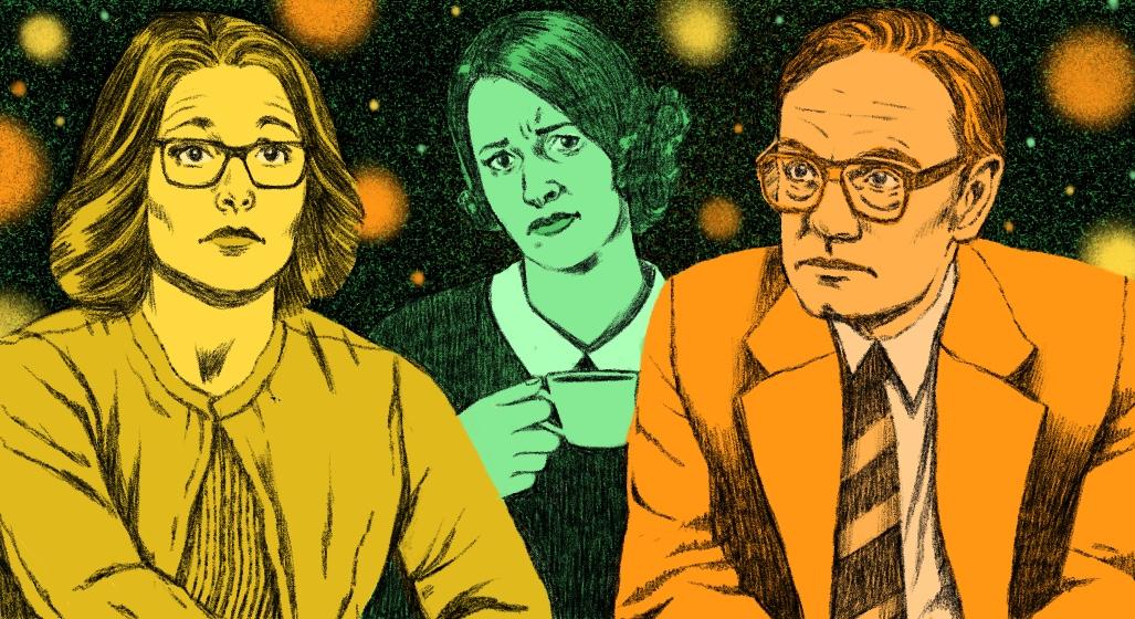 Actress Julia Louis-Dreyfus in Veep, actress Pheobe Waller-Bridges in Fleabag, and actor Jared Harris in Chernobyl.