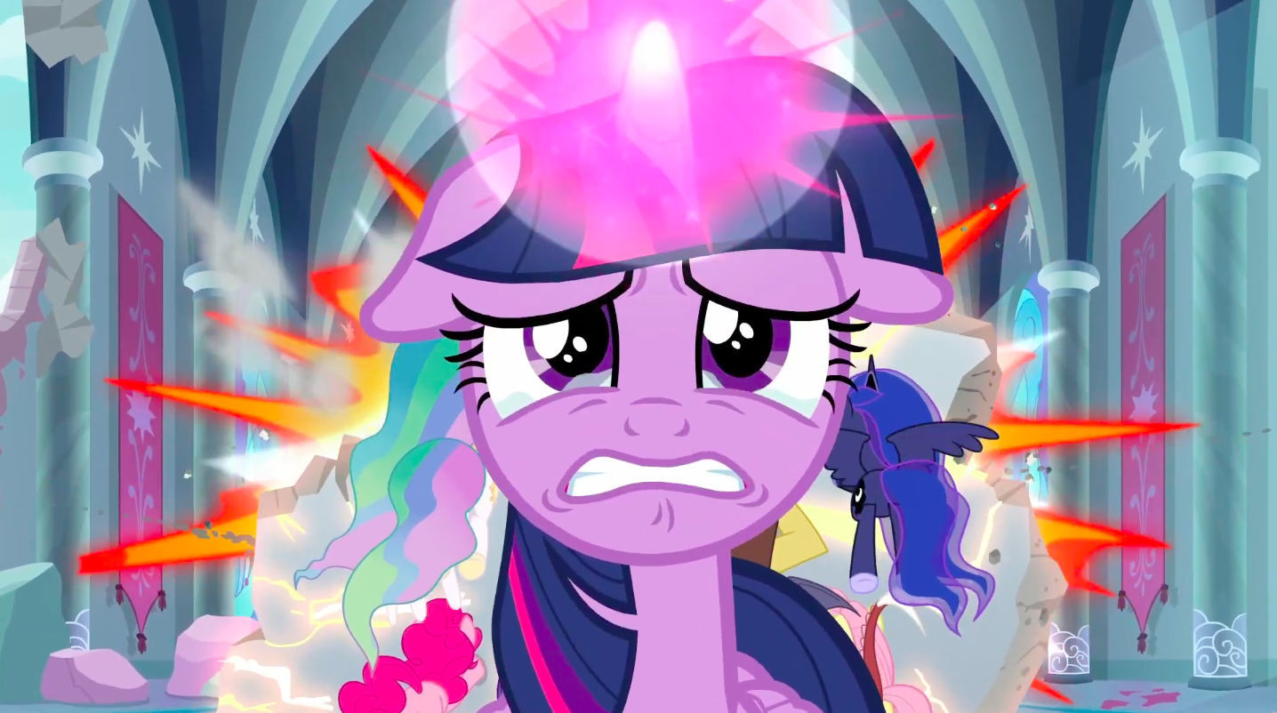 A purple pony with expressive eyes, a unicorn horn, and purple hair looks determinedly but weepily into the camera. Behind her are flashes of light and explosions.