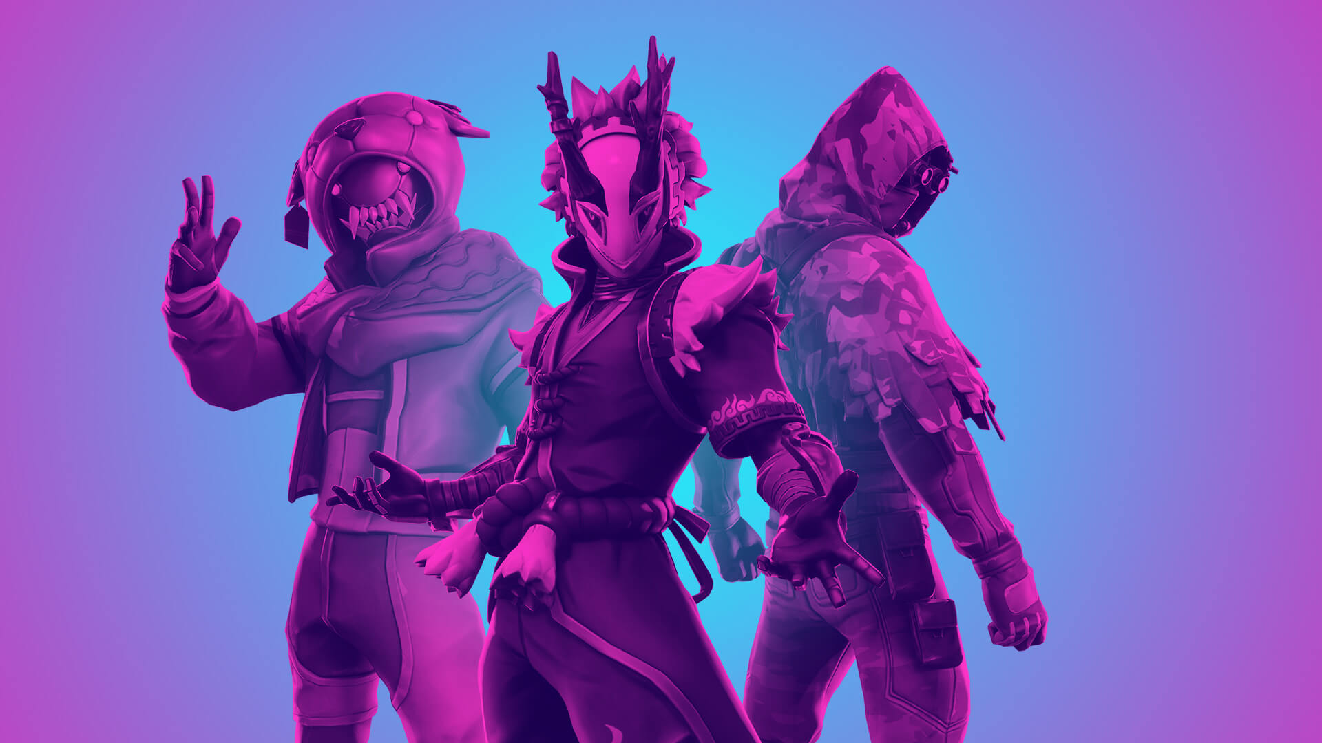 Fortnite Champion Series art with three characters standing on a blue background with a purple haze over the image.