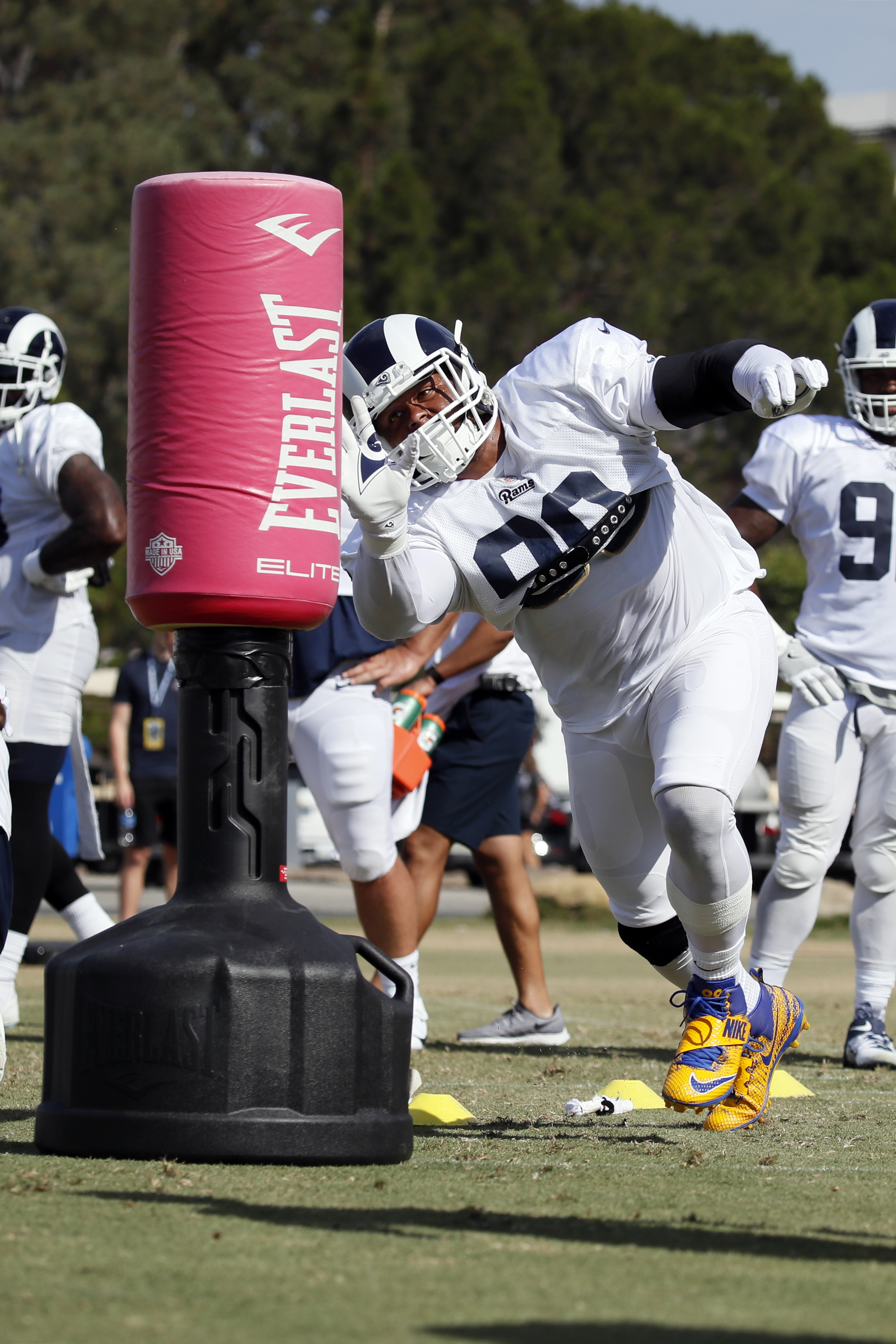 Los Angeles Rams DL Aaron Donaldruns through a drill during training camp, Jul. 30, 2019.
