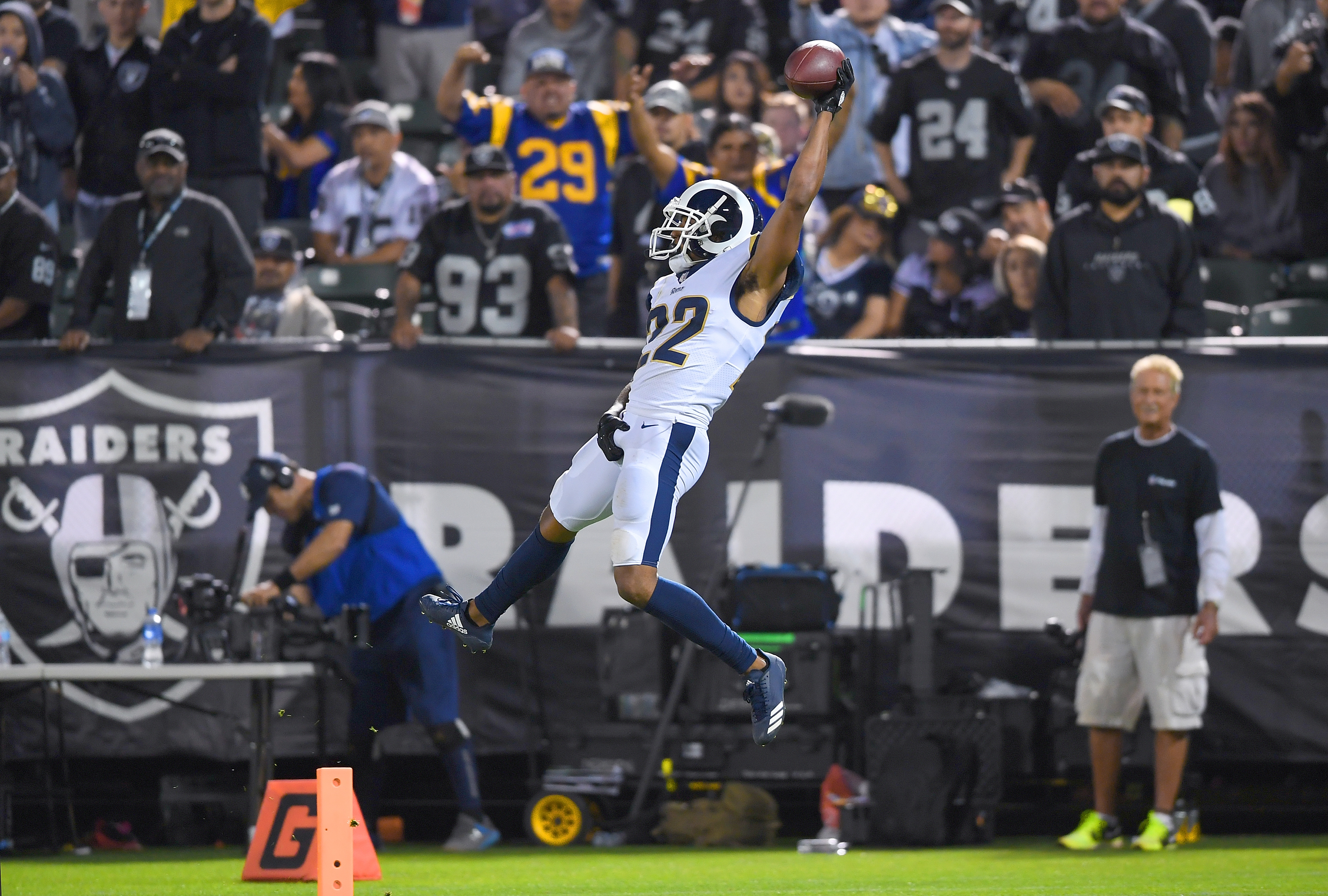 Los Angeles Rams CB Marcus Petersdives into the endzone to cap off a pick six in Week 1 against the Oakland Raiders, Sep. 10, 2018.