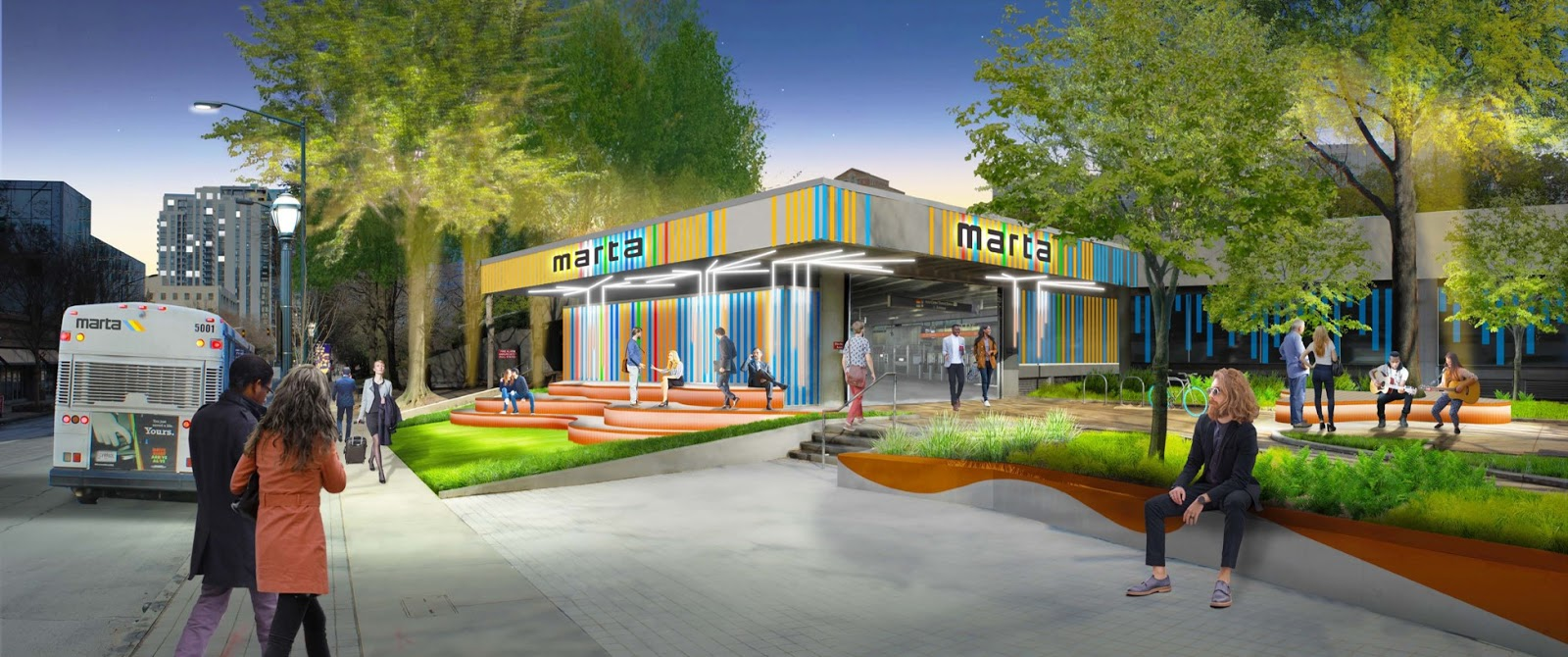 A rendering of the Arts Center MARTA station, as seen from West Peachtree Street, with new green space and colorful signage.