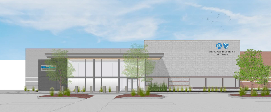 A rendering shows the planned Blue Cross and Blue Shield of Illinois facility at 11840 S. Marshfield Ave.