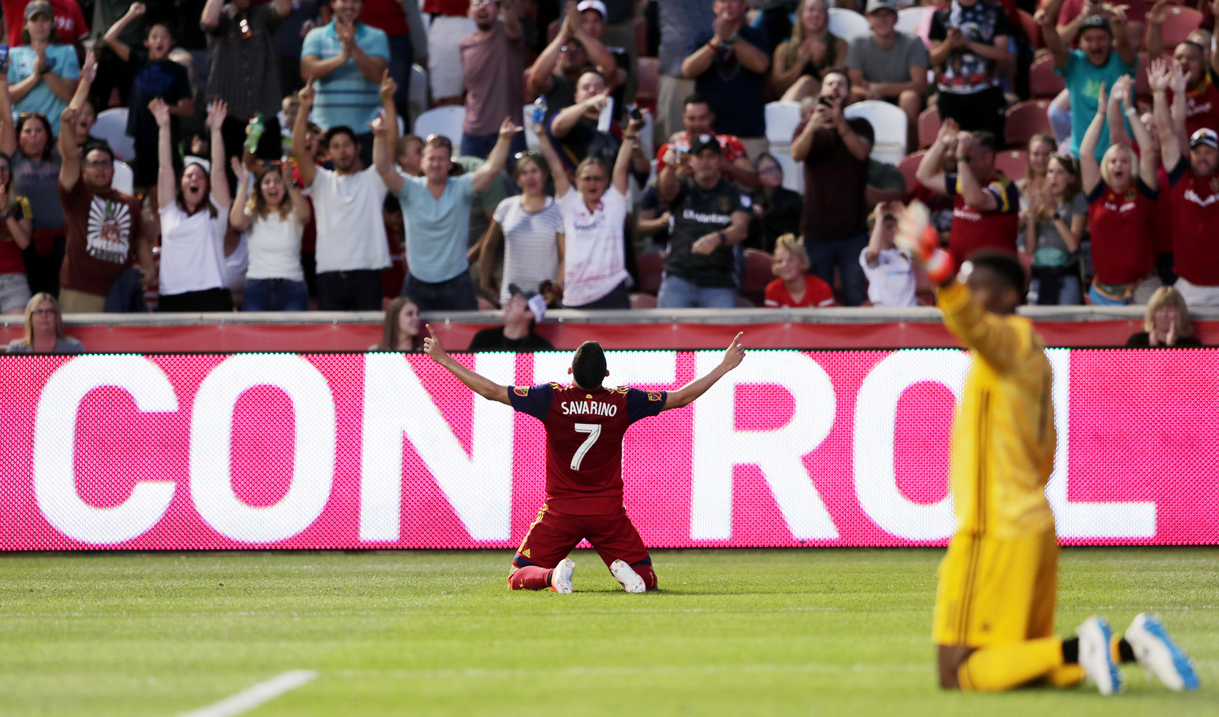 Real Salt Lake forward Jefferson Savarino (7) celebrates after scoring a goal as Real Salt Lake and New York City FC play at Rio Tinto Stadium in Sandy on Saturday, Aug. 3, 2019.