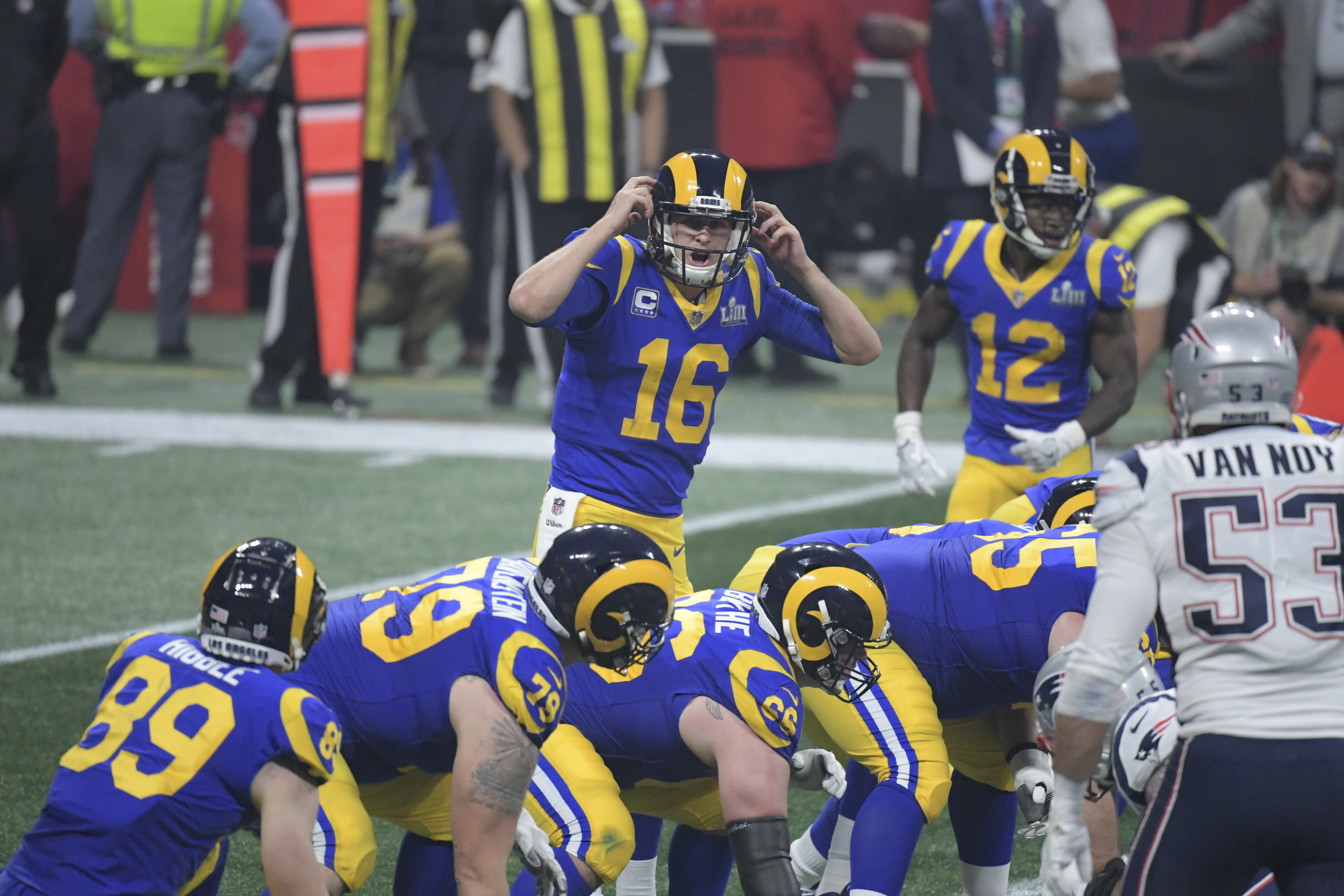 Los Angeles Rams QB Jared Goff changes a play at the line of scrimmage in Super Bowl LIII against the New England Patriots, Feb. 3, 2019.