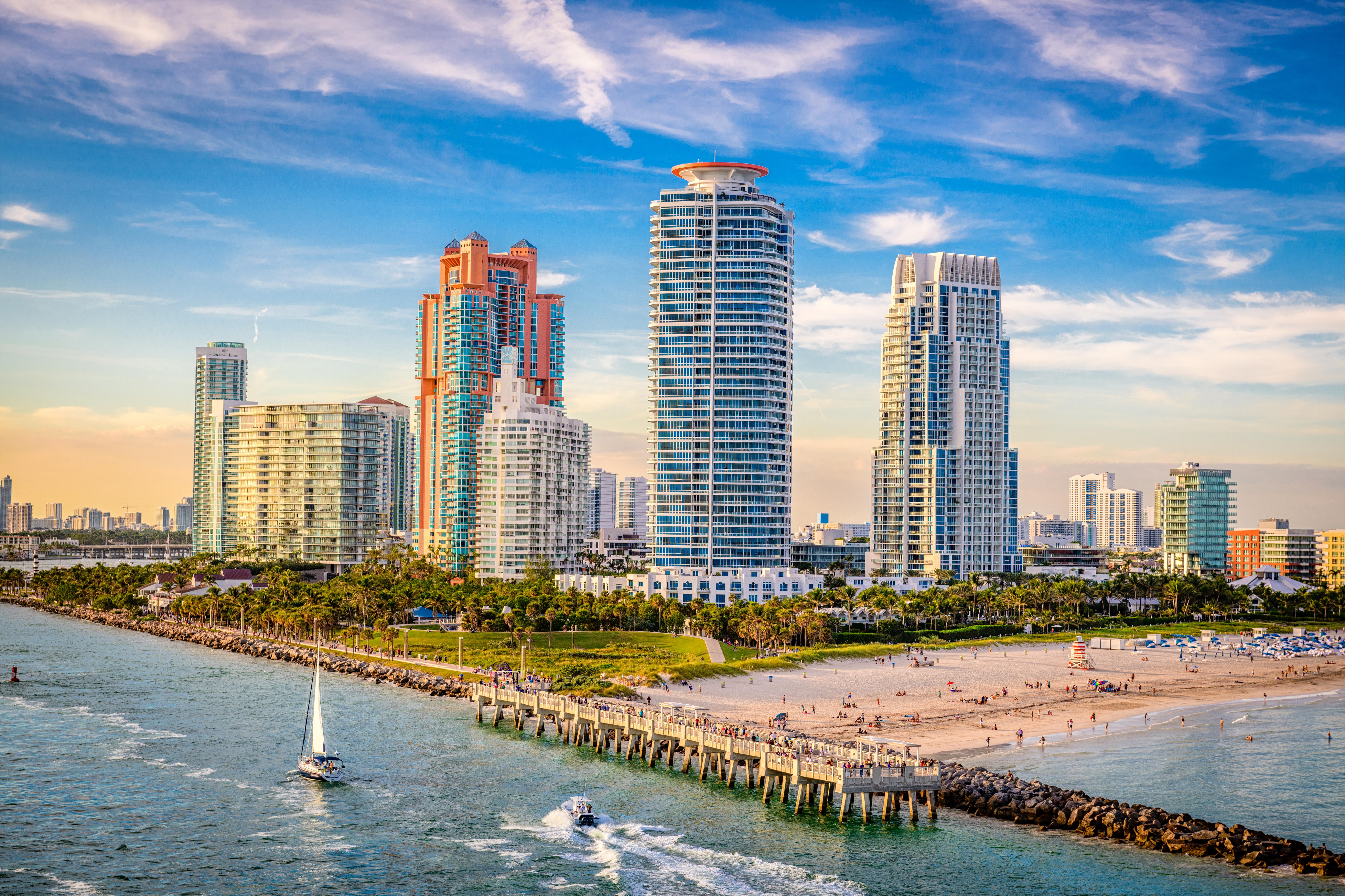 Condo building on South Beach in Miami, Florida near South Pointe Park.