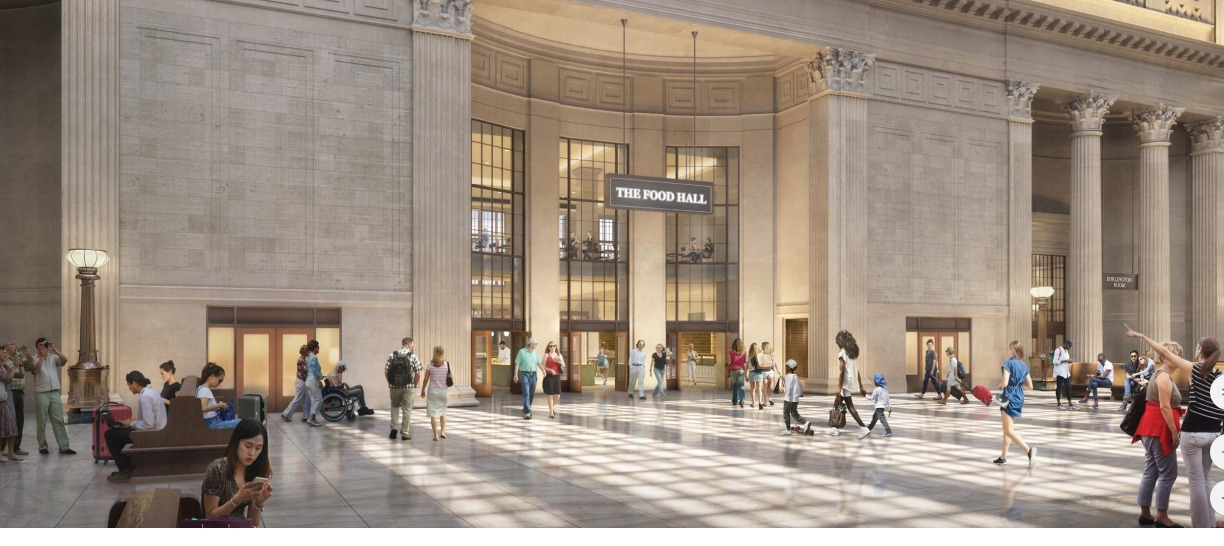 Rendering shows the proposed food hall's entrance from the Great Hall at Union Station.