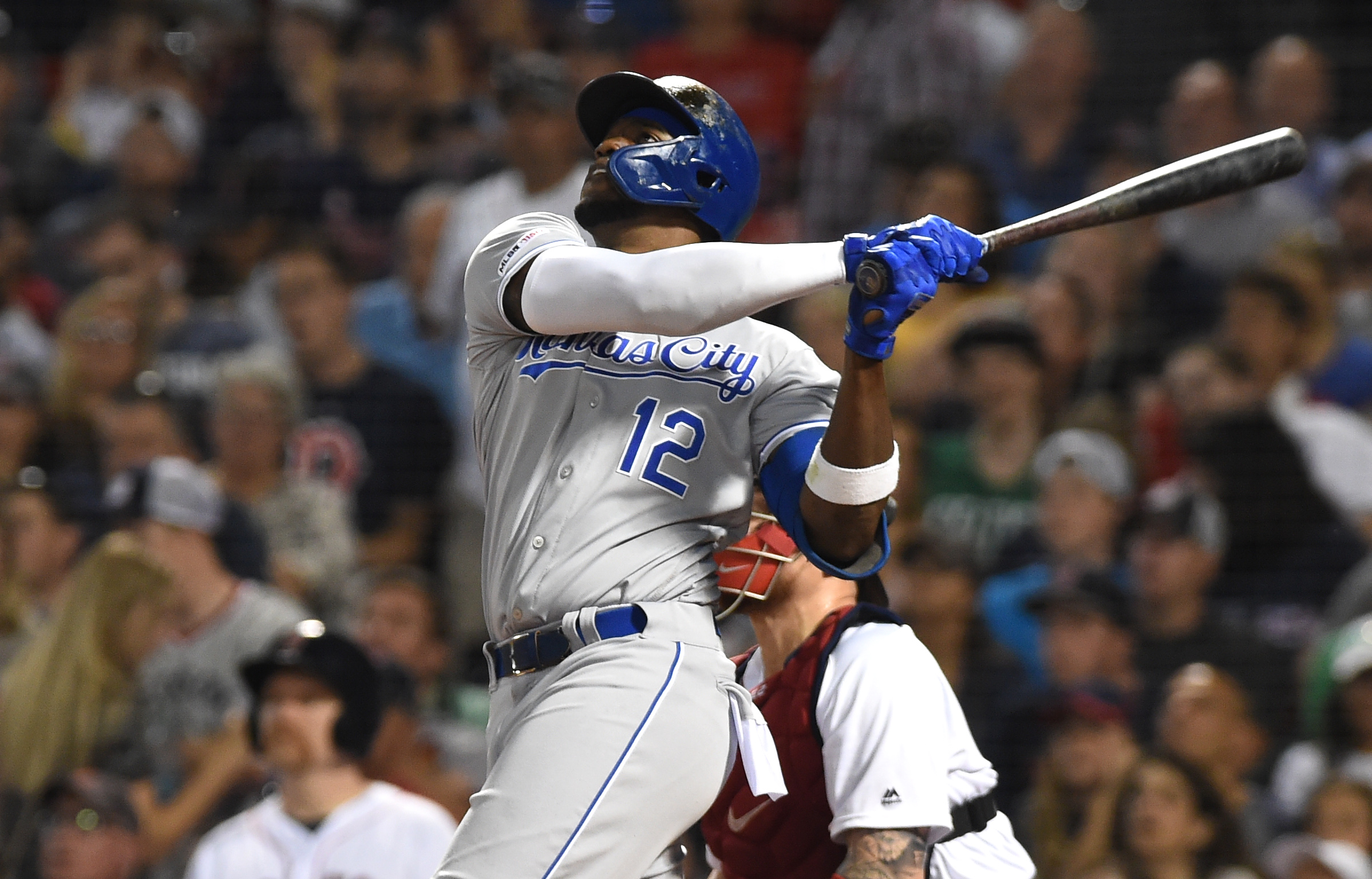 Kansas City Royals designated hitter Jorge Soler (12) hits a home run during the sixth inning against the Boston Red Sox at Fenway Park.
