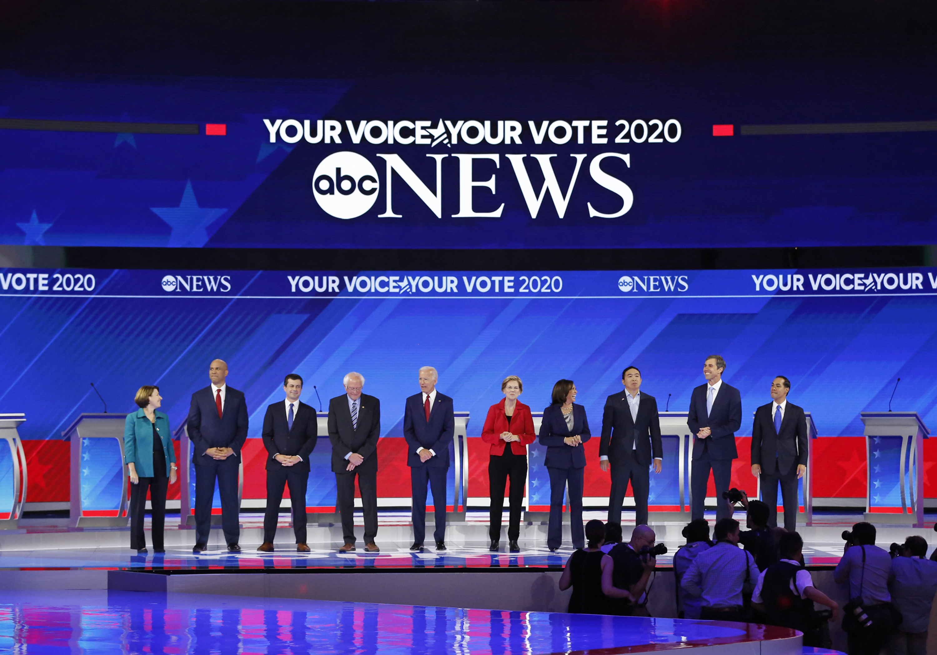 Candidates gather at the September 2019 Democratic debate.