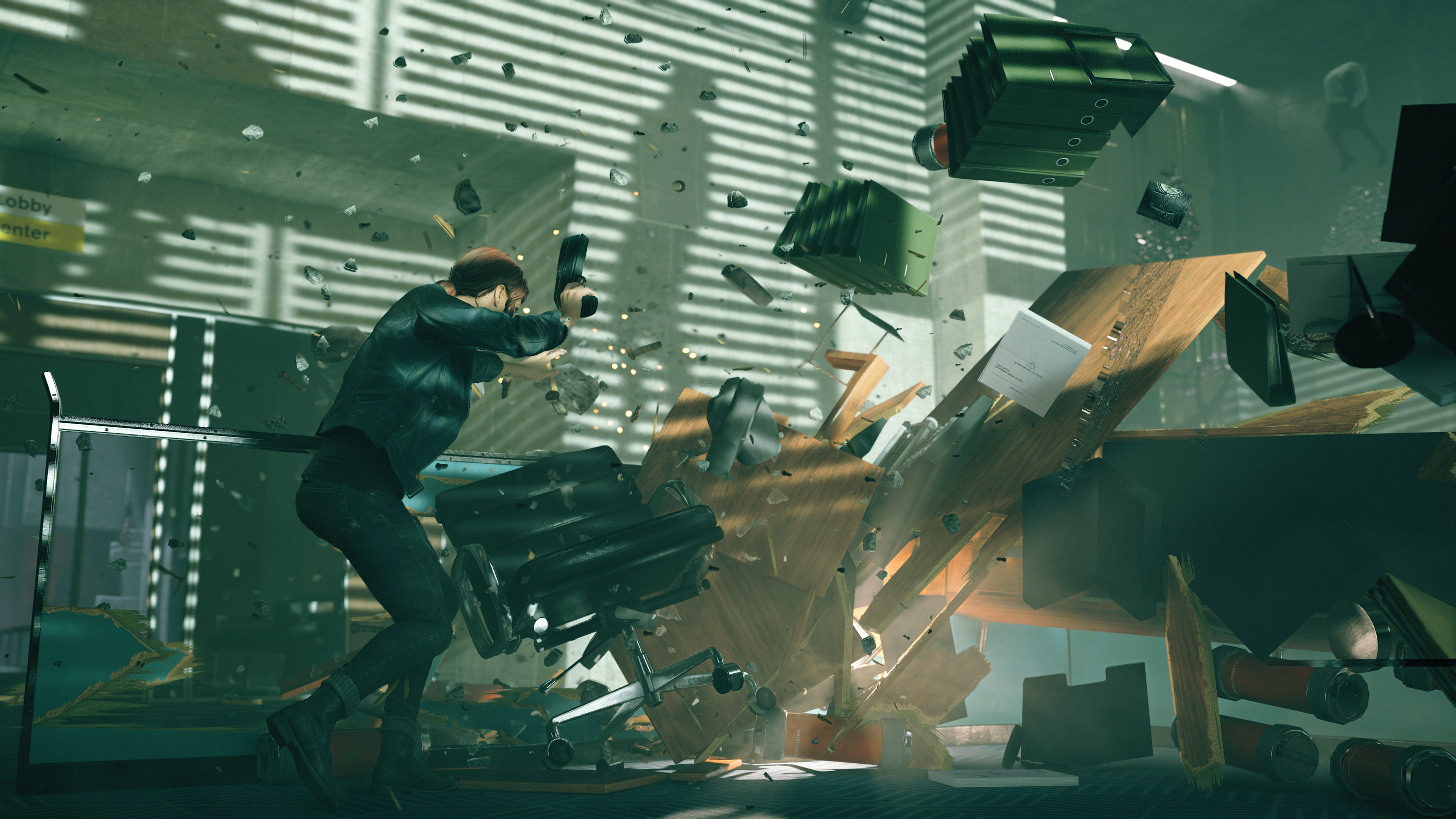 A character reacts to an explosion in Remedy's game Control