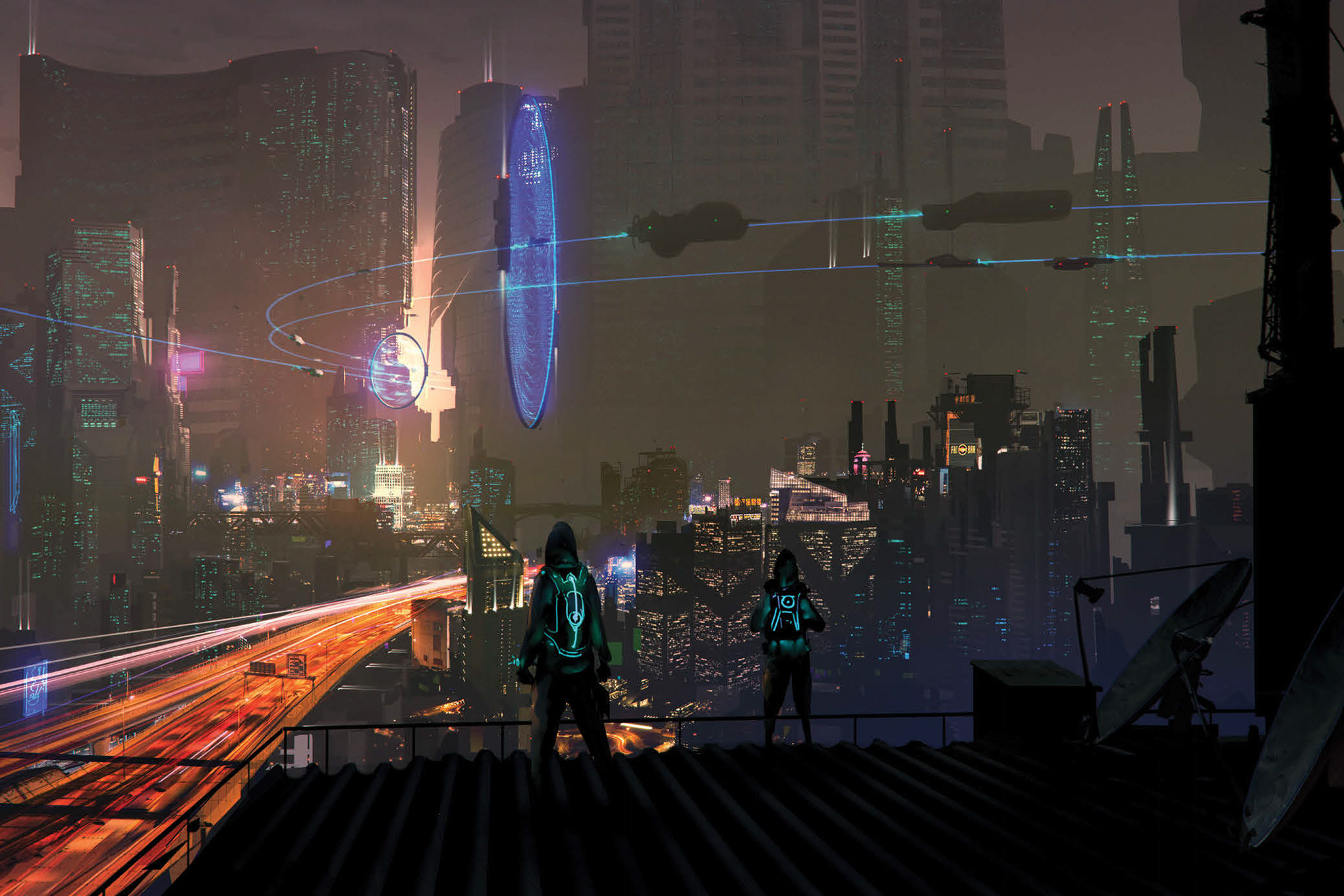 A view of Night City at dusk. Flying cars move through the sky, while edgerunners wearing jackets laced with glowing thread set up shop on a rooftop and prepare for a heist.