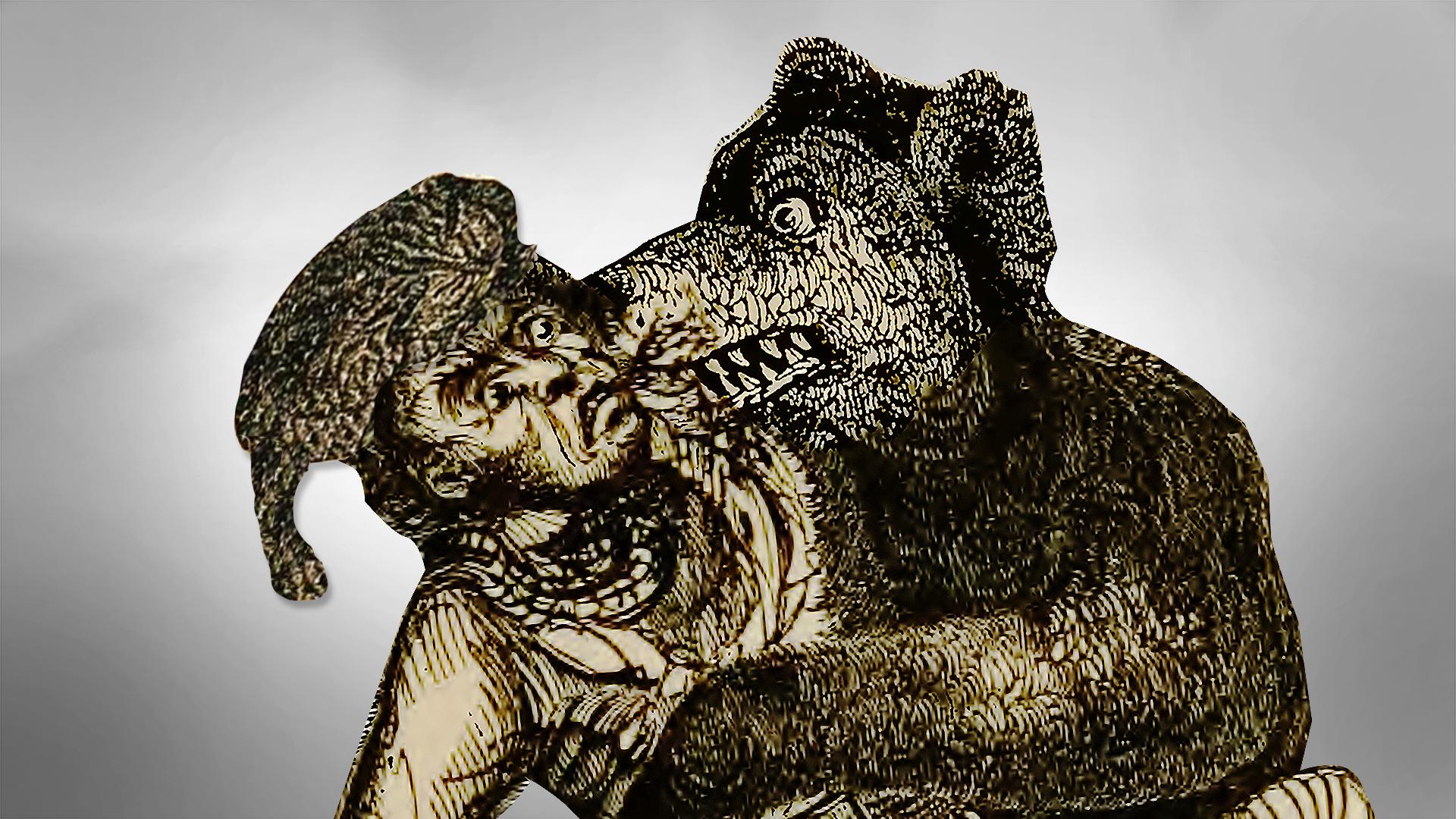Davy Crockett fights a bear.