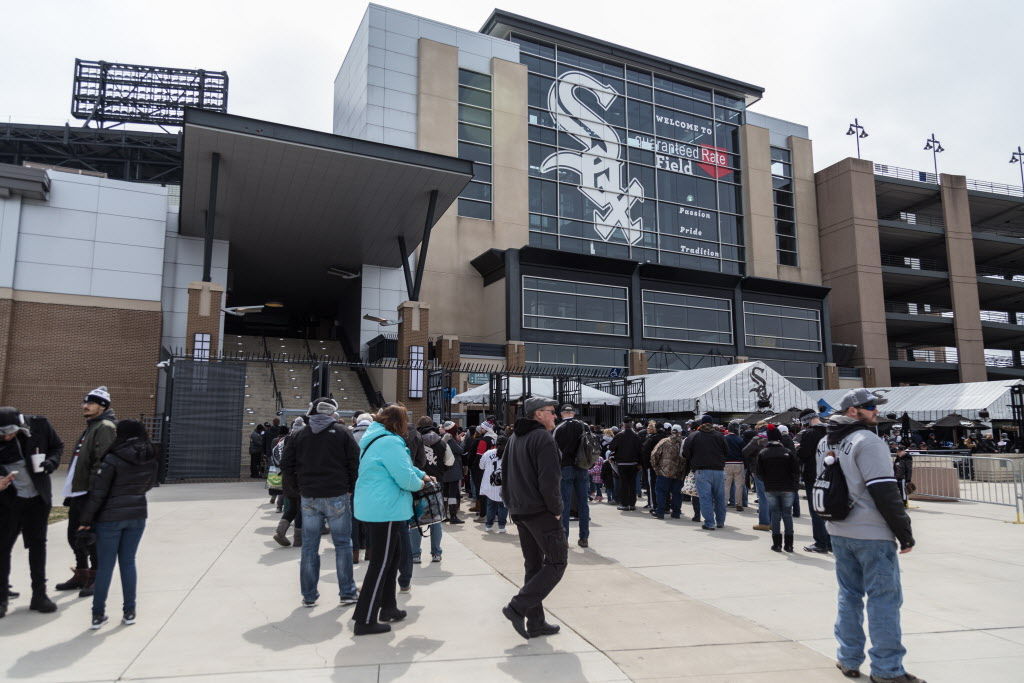 White Sox fans gather at Guaranteed Rate Field for the home opener.   Erin Brown/Sun-Times