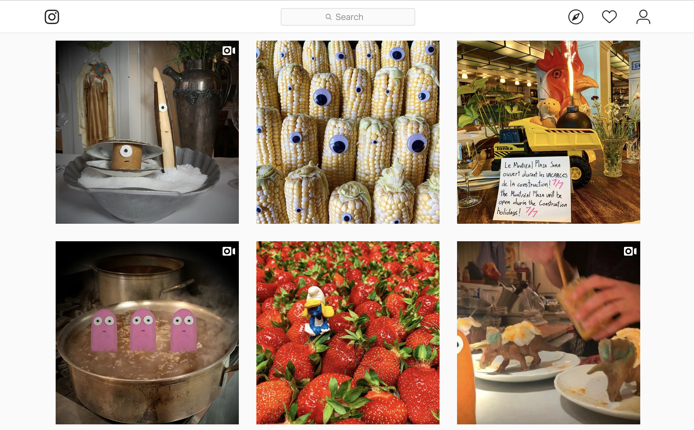 Montreal Plaza's Instagram grid includes a photo of corn with googly eyes, a Smurfette figurine in a pile of strawberries, a teddy bear in the bed of a Tonka truck, plastic dinosaurs on dinner plates, pink claymation figures in a pot of boiling water, and