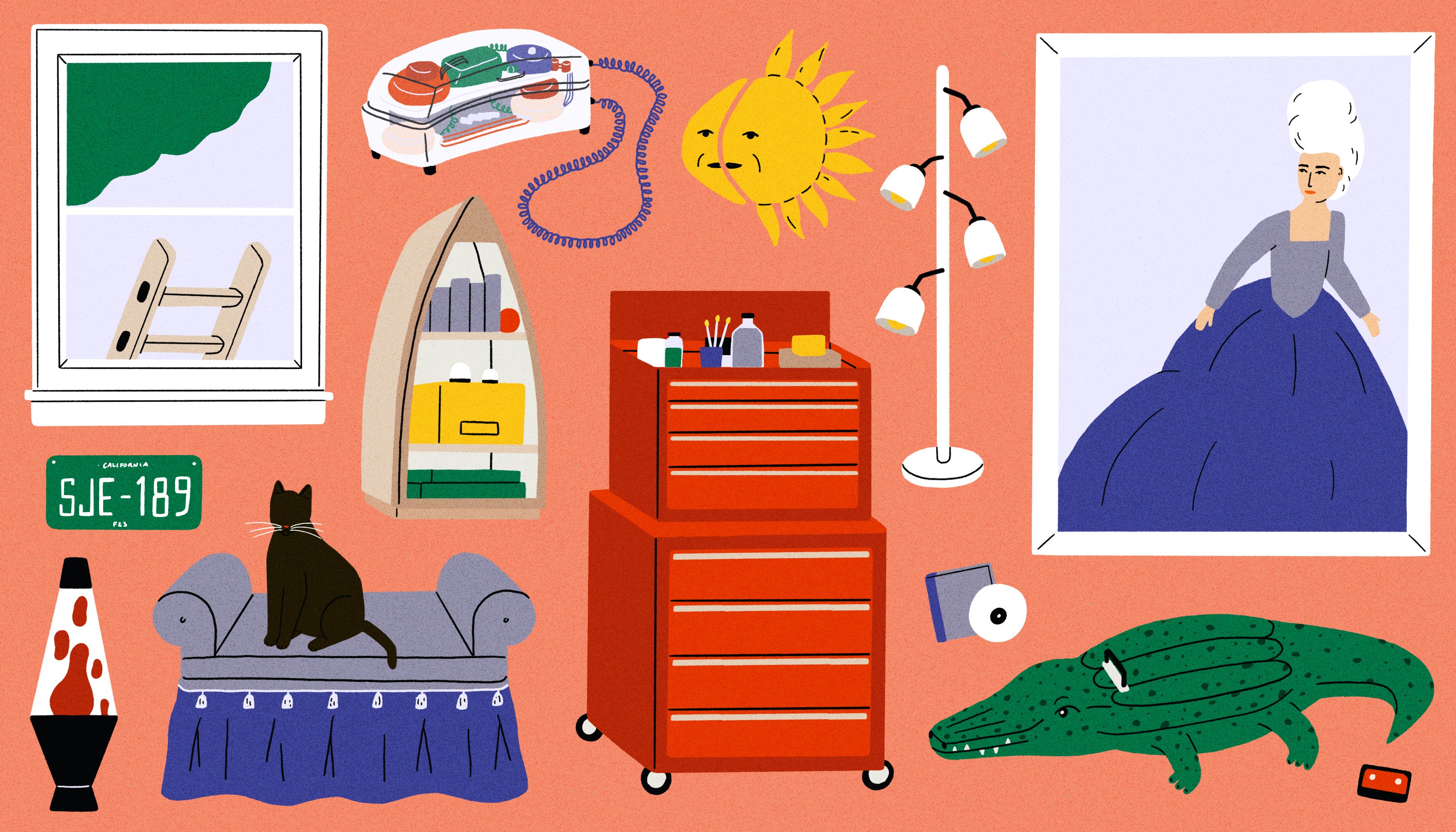 A room with a window that has a ladder, a chair that has a black cat on it, a dresser on wheels, an alligator, a movie poster, an ornamental sun, a lamp, and a street sign. This is an illustration.
