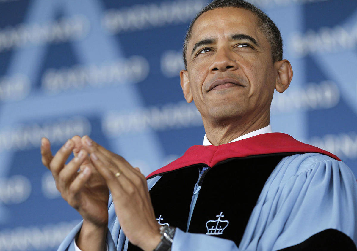 President Barack Obama is seen on stage before delivering the commence address at Barnard College, Monday, May 14, 2012, in New York.