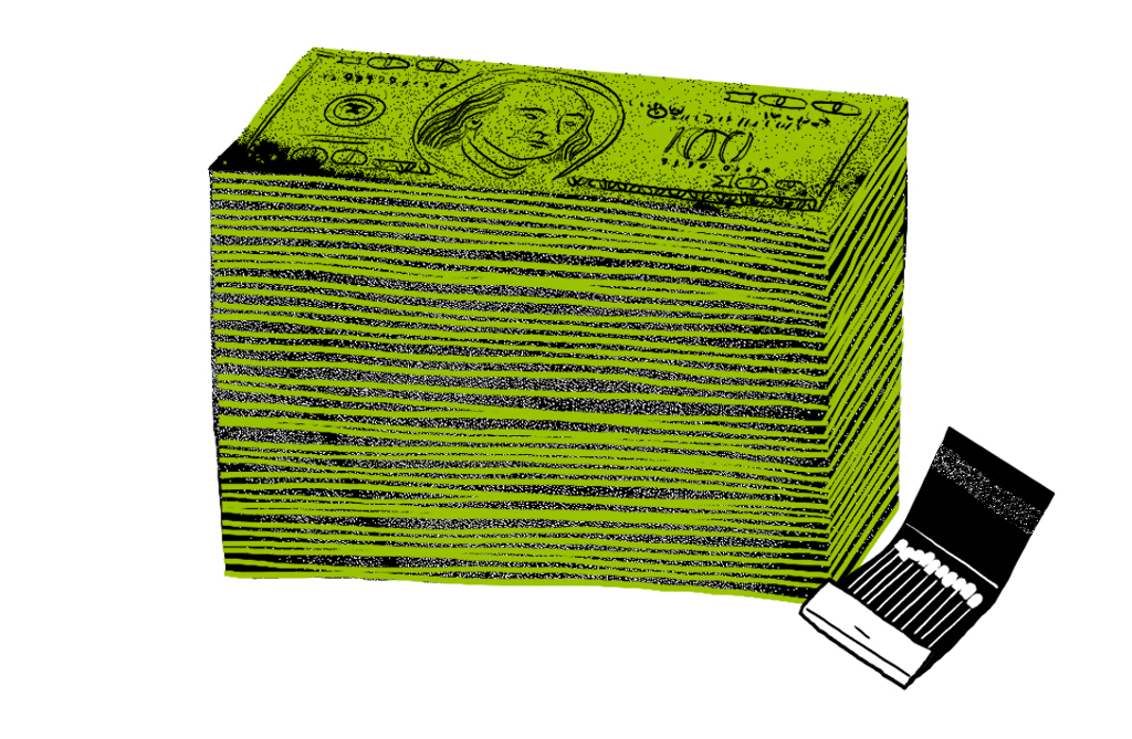 An illustration showing a stack of $100 bills and an open book of matches.