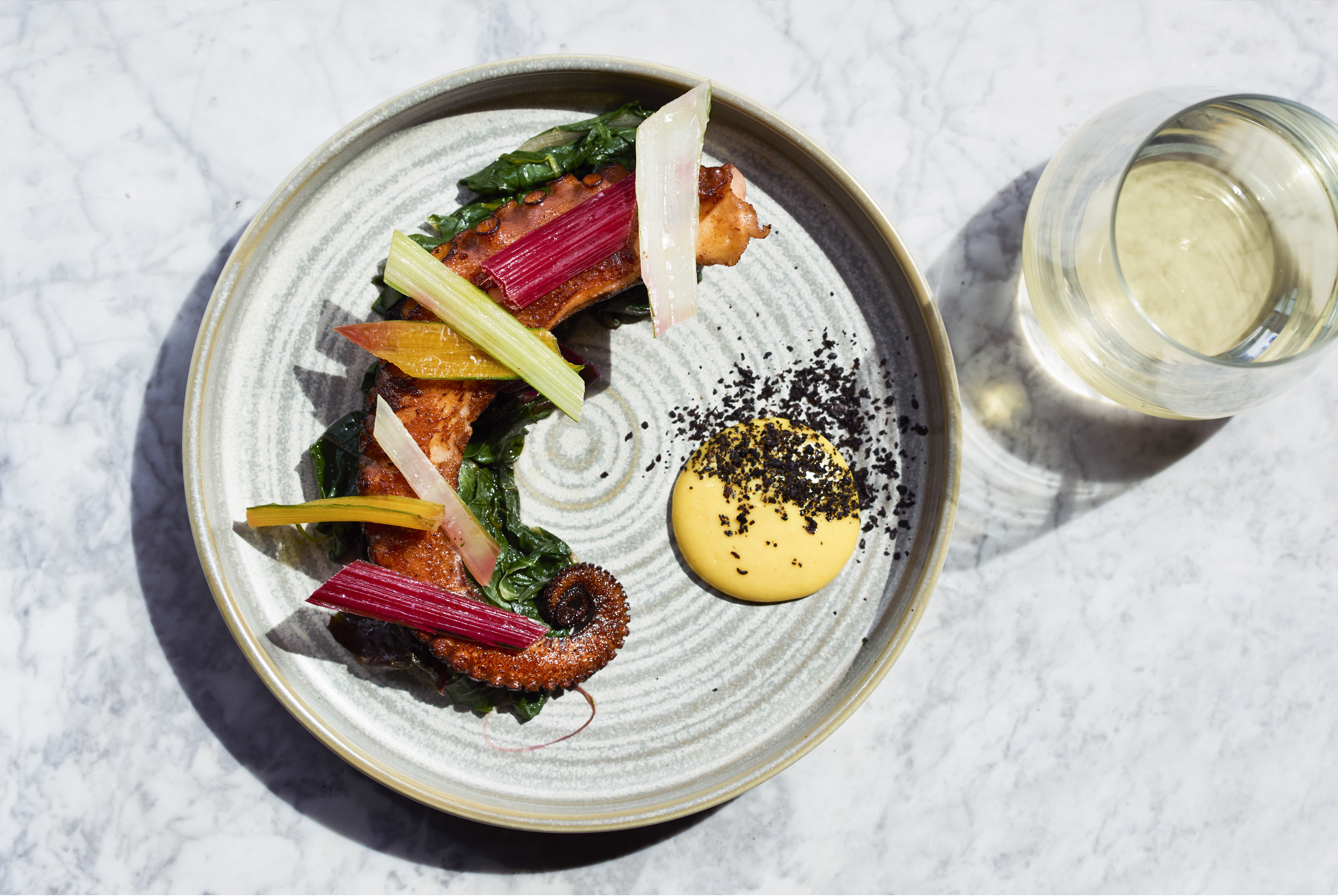 Octopus with chard at Haya, which will open in Notting Hill in September with an ex-Heston Blumenthal chef in the kitchen
